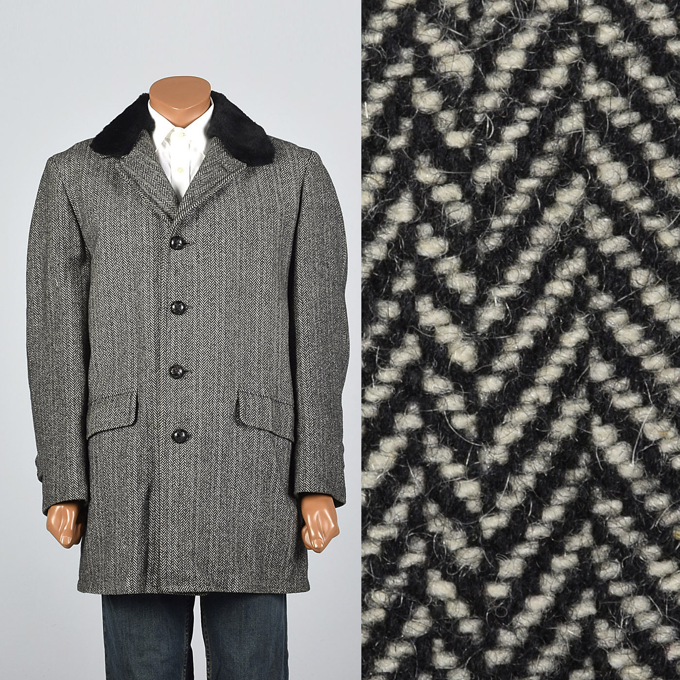 Black and White Herringbone Coat