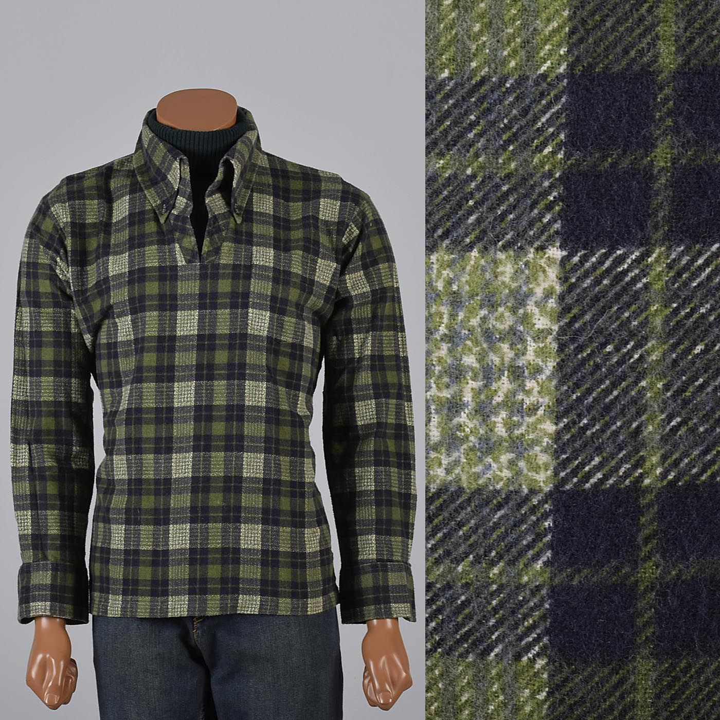 Xl mens vintage 1970s 70s green flannel shirt hippie for Mens xl flannel shirts