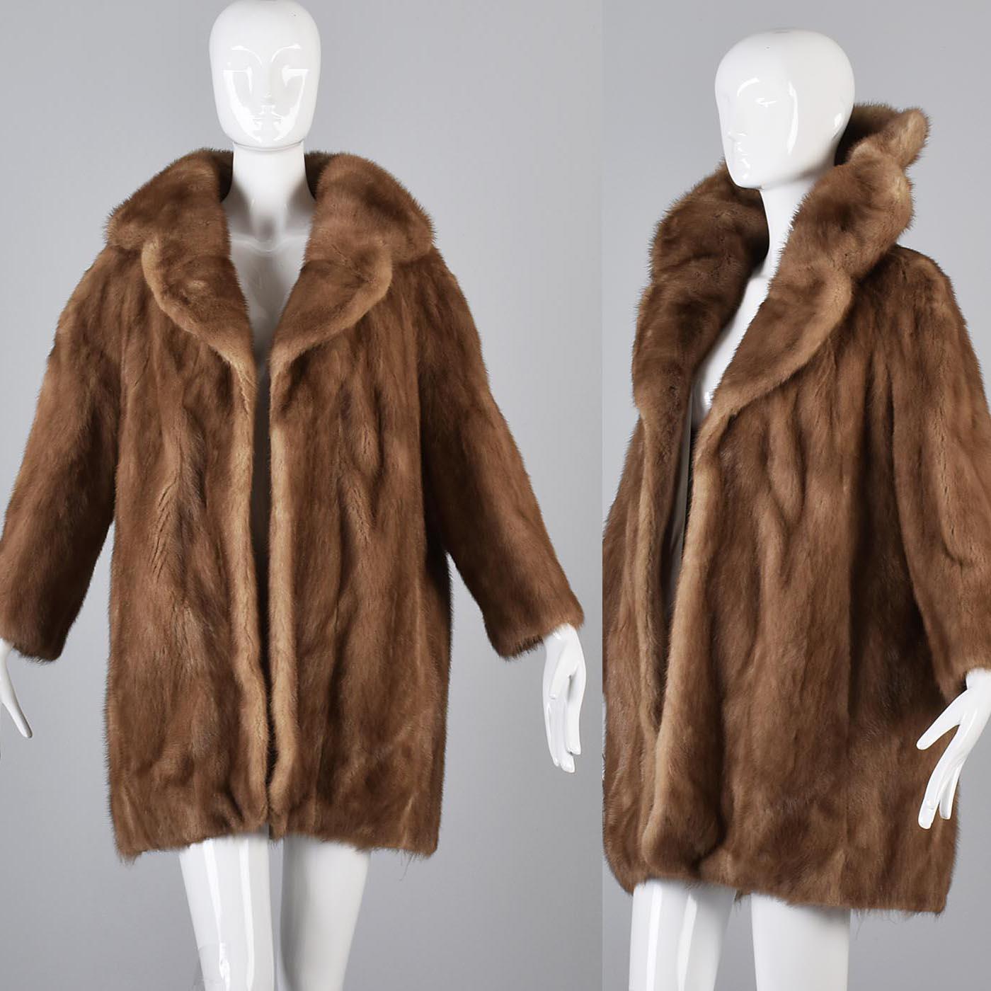 Vintage 1950s 50s Mink Fur Coat Portrait Collar Stroller Car ...