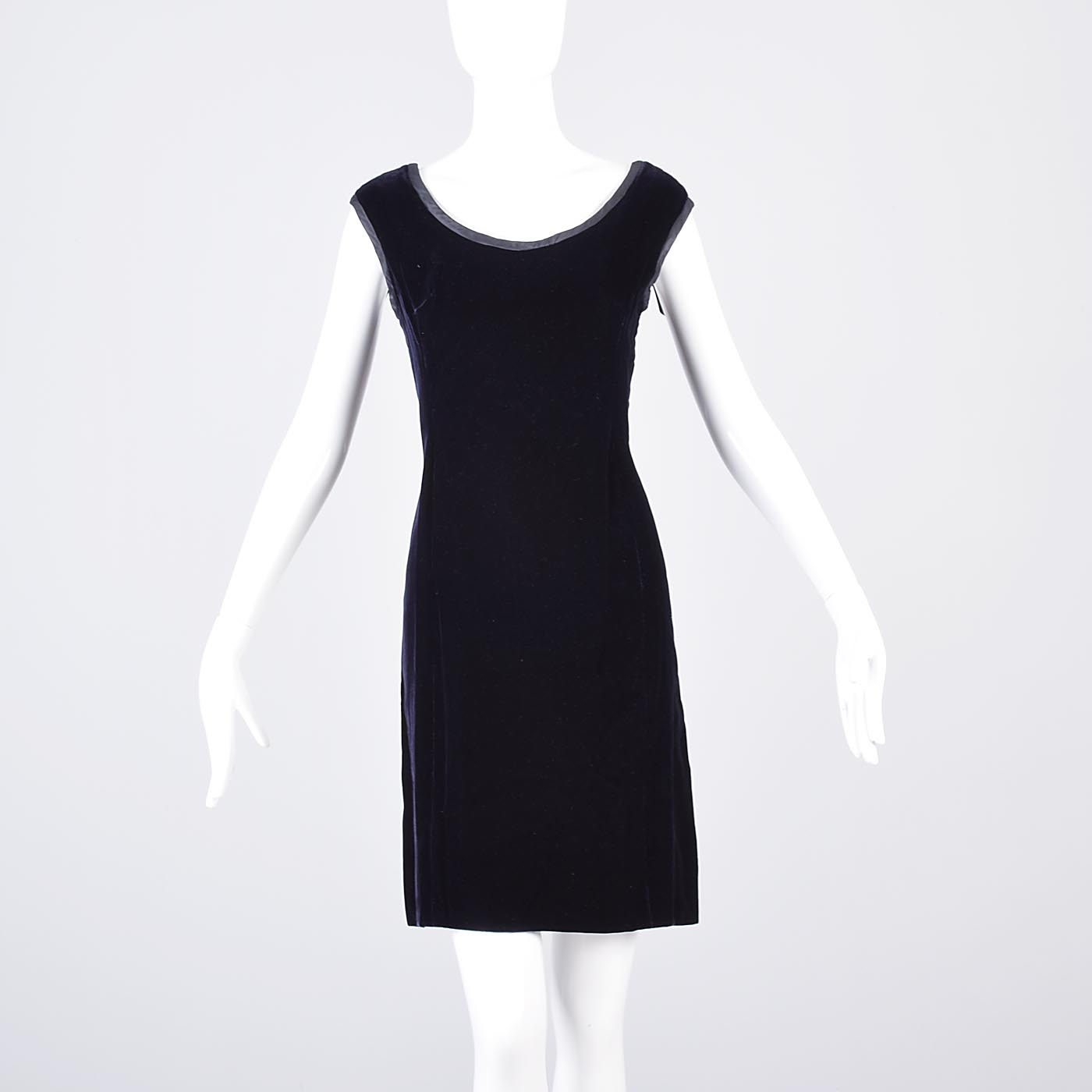 L Vintage 1960s 60s Saks Fifth Ave Cocktail Dress Velvet Sleeveless ...
