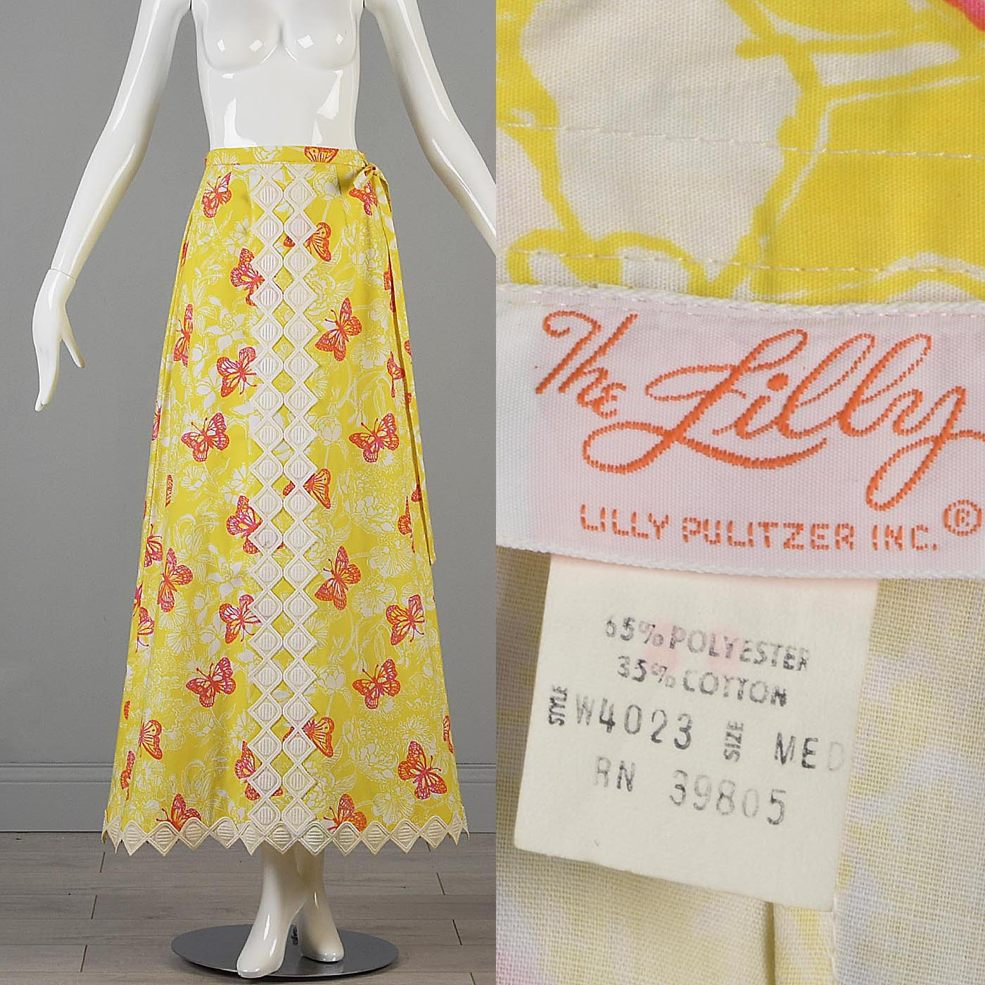 8a3e3ee6f Details about M Vintage 1970s 70s Maxi Skirt Lilly Pulitzer Yellow Pink  Butterfly Print Wrap