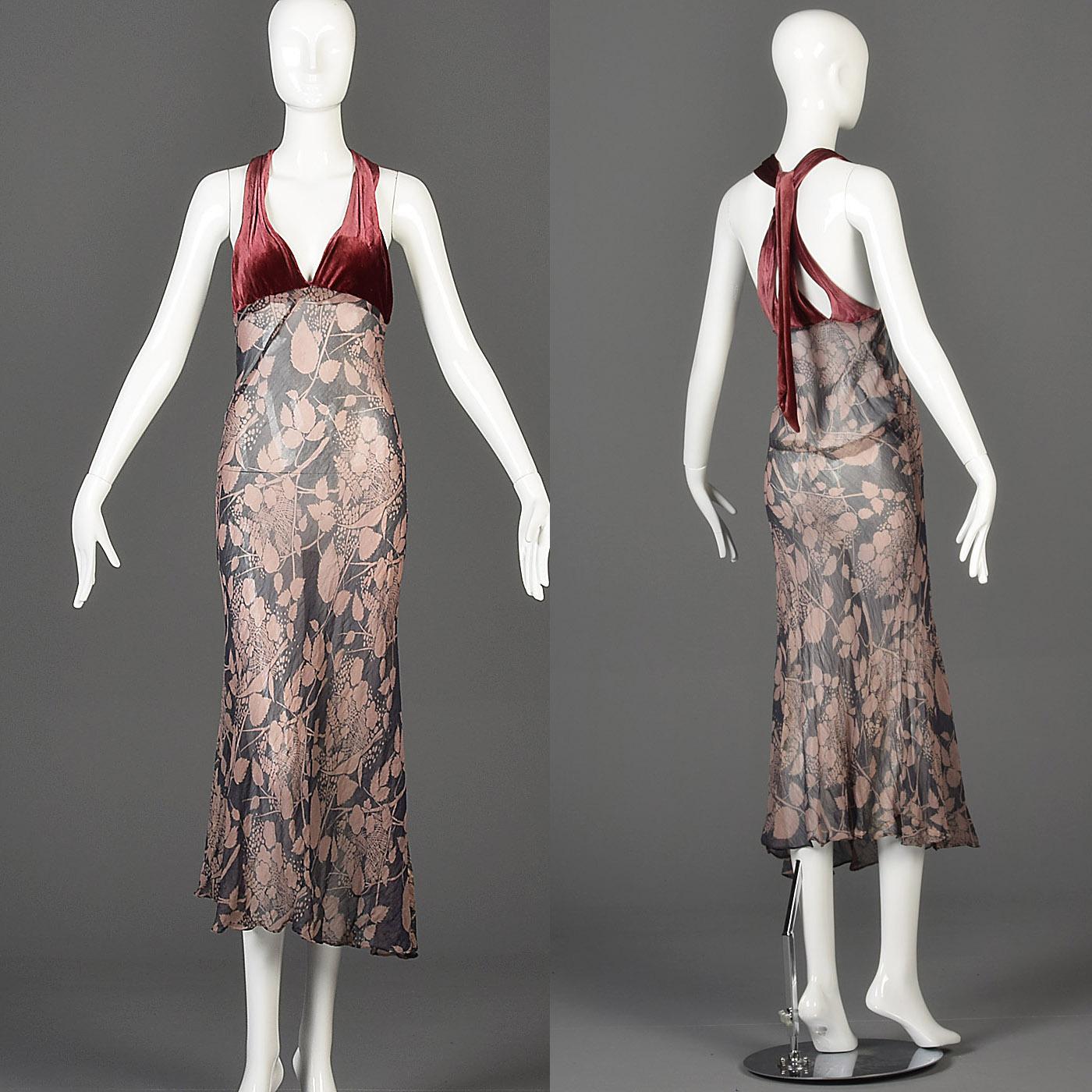 XS Vintage 1930s 30s Silk Velvet Bias Cut Dress Halter