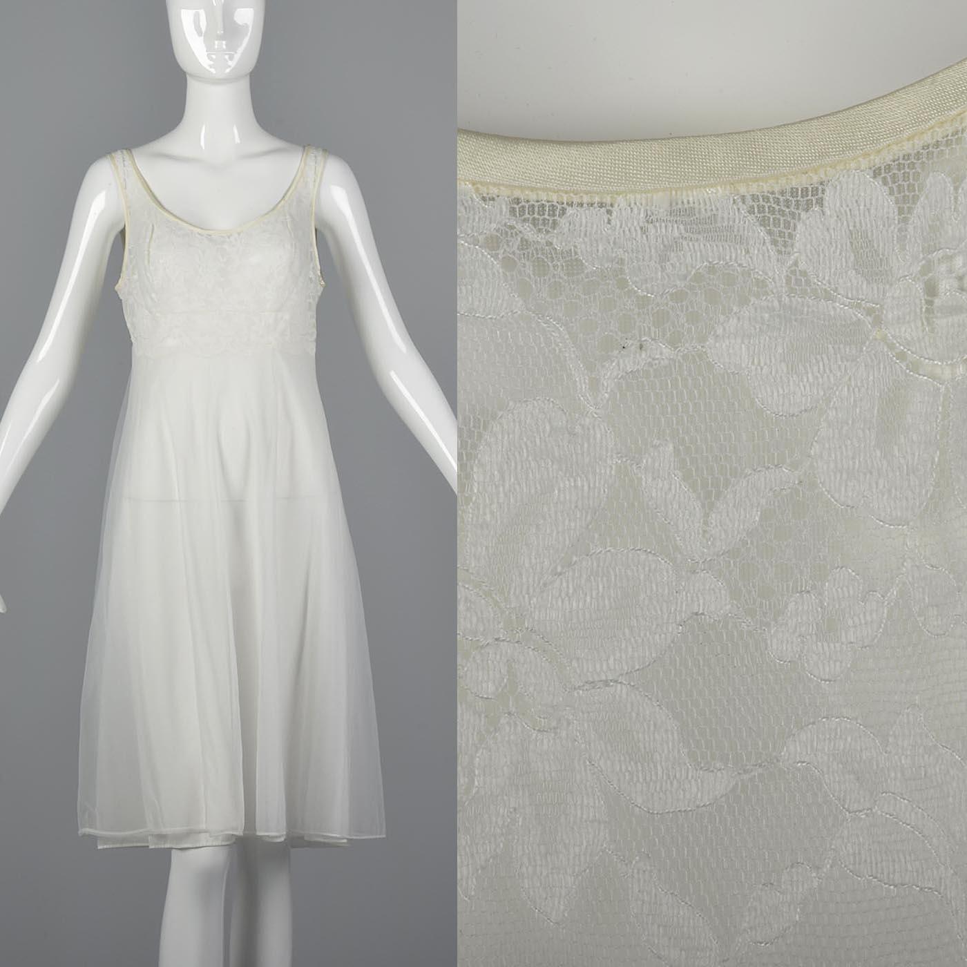 L Vintage 1950s 50s Sheer Sleepwear Honeymoon Nightgown Ivory Lace Wedding  Gown a9ea42928
