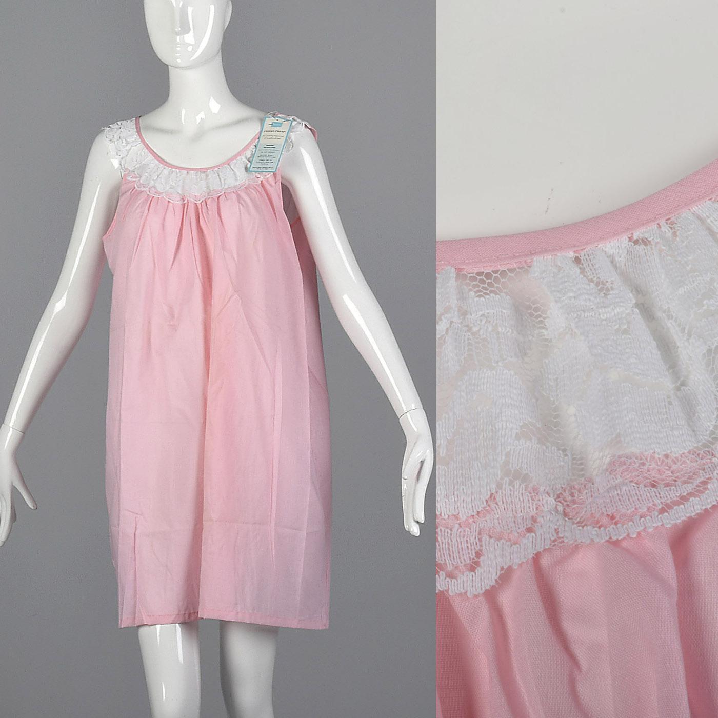 XL Vintage 1960s 60s NOS Simple Pink Nightgown Night Gown Sleepwear ...