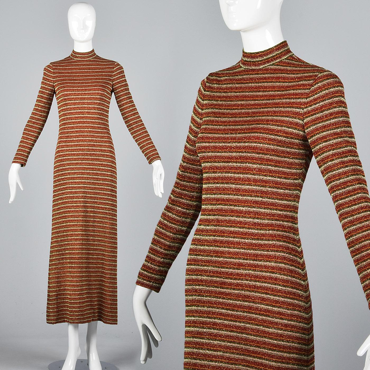 401831814f XS 1970s Dress Mollie Parnis Boutique Long Sleeve Maxi Dress VTG 70s Lurex  Knit