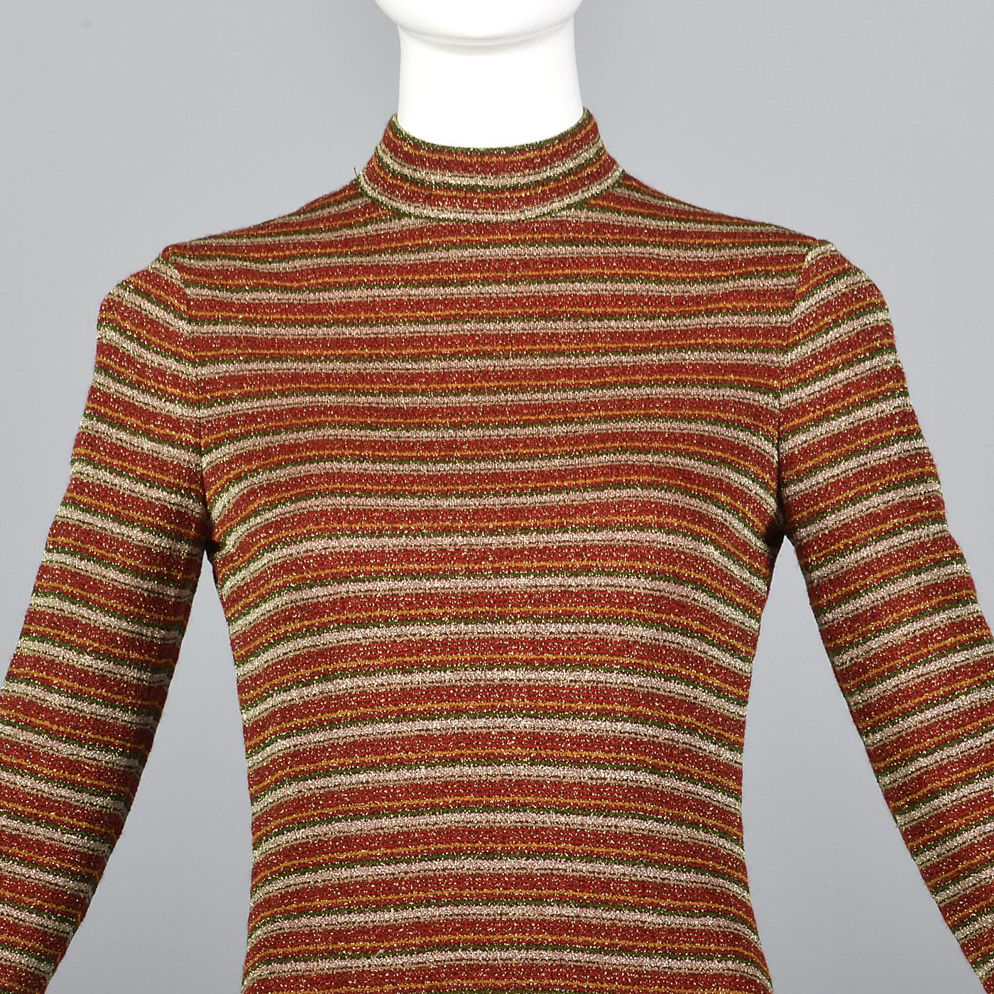 3b325a2aca Details about XS 1970s Dress Mollie Parnis Boutique Long Sleeve Maxi Dress  VTG 70s Lurex Knit