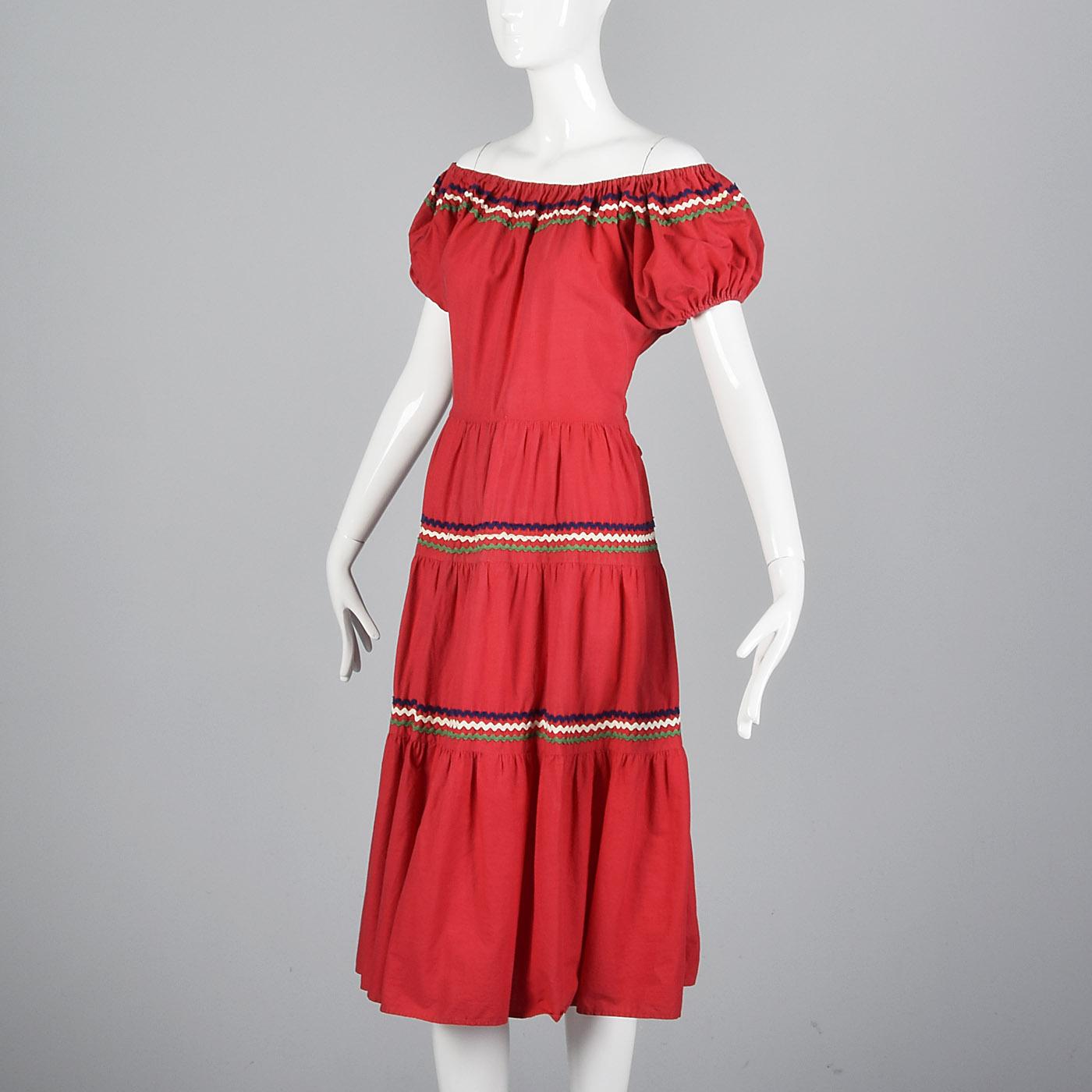 Medium 1950s Bohemian Off Shoulder Dress Red Cotton Summer Dress Ric Rac Rockabilly Square Dance Casual Day Wear 50s Vintage