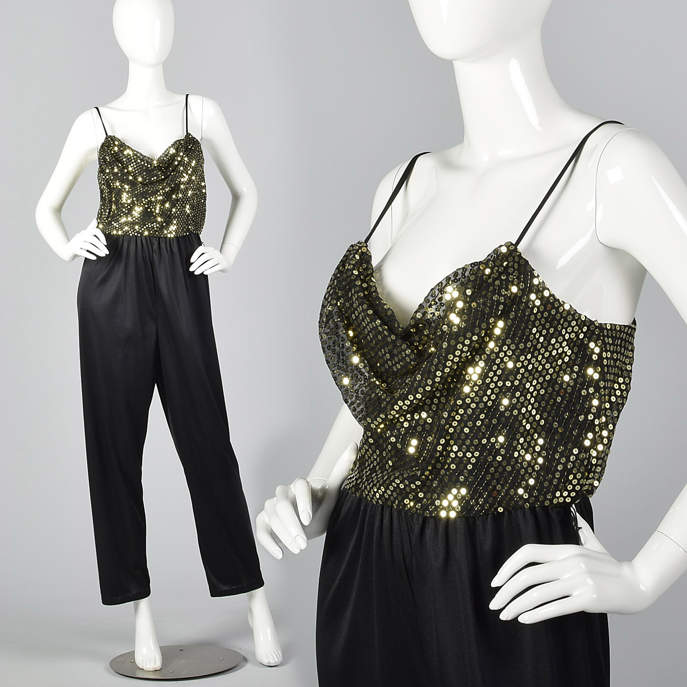16cdf2097510 Details about M 1970s Gold Sequin Low Cut Jumpsuit Sexy Evening Wear Disco  Party Black 70s