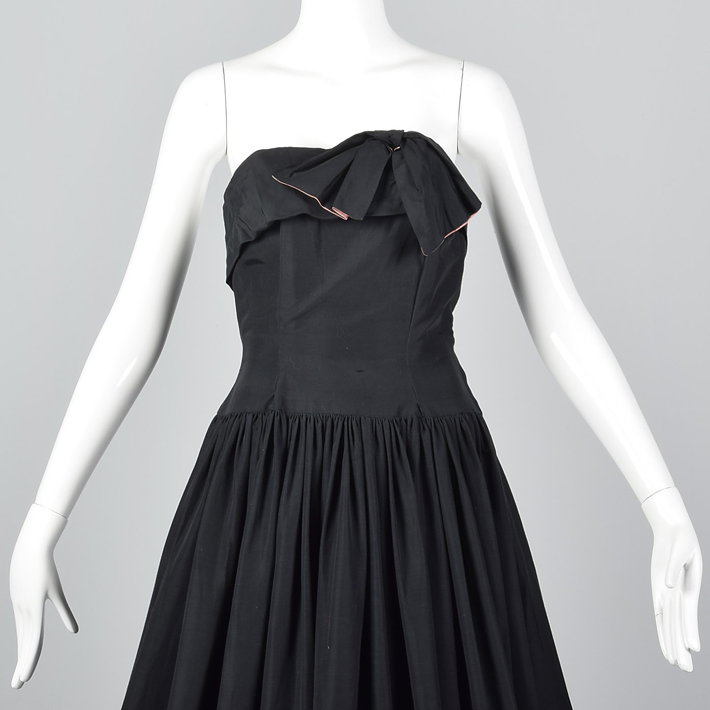 XS 1940s Strapless Black Party Dress Long Formal Evening Gown Maxi ...
