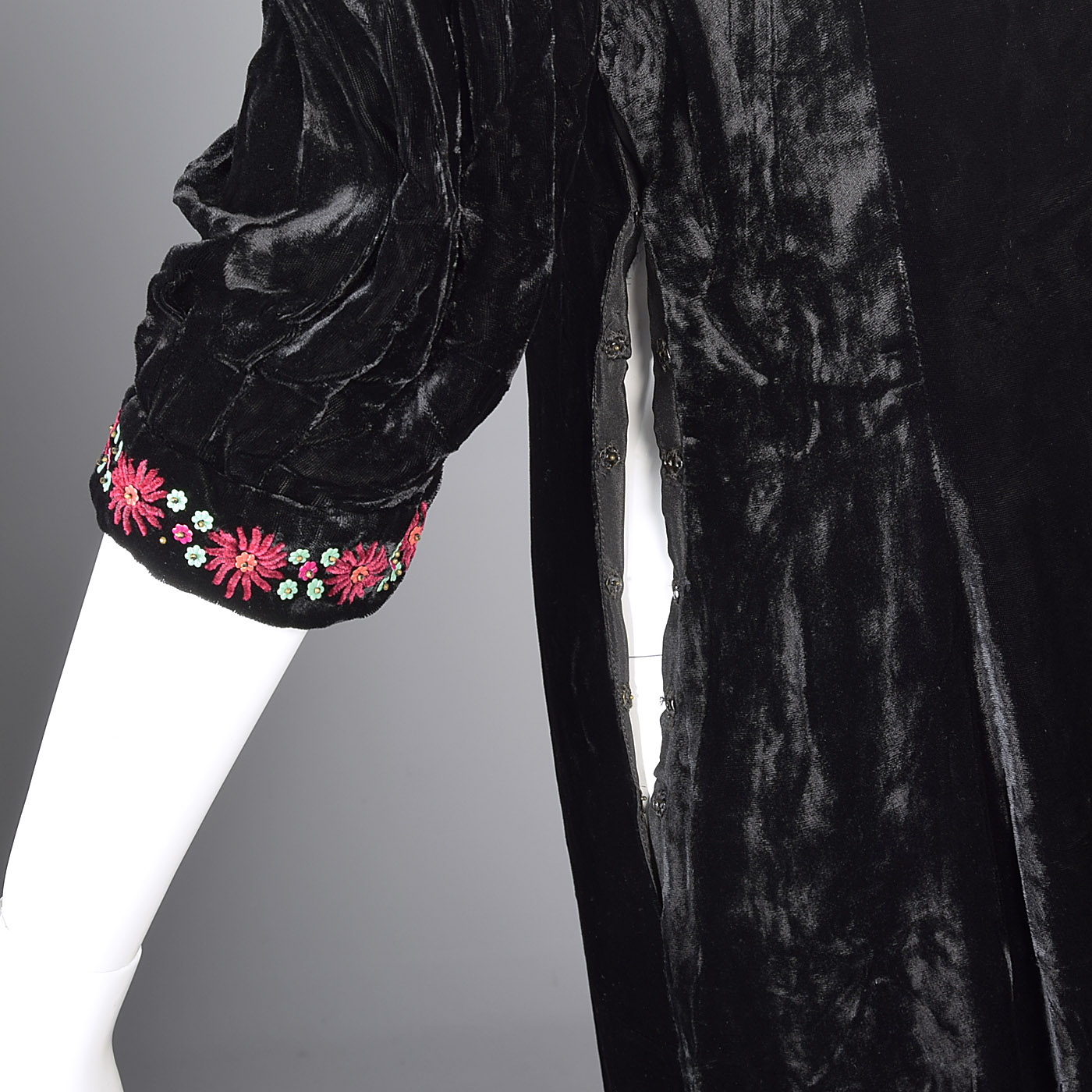 ba59f624726 M 1930s Black Velvet Dress Floral Beading Embroidery Evening Cocktail Art  Deco