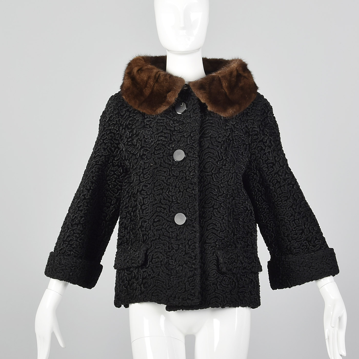 8416ceaf293fd Details about S 1950s Black Persian Lamb Jacket Mink Collar Short Winter Coat  Fur Trim 50s VTG