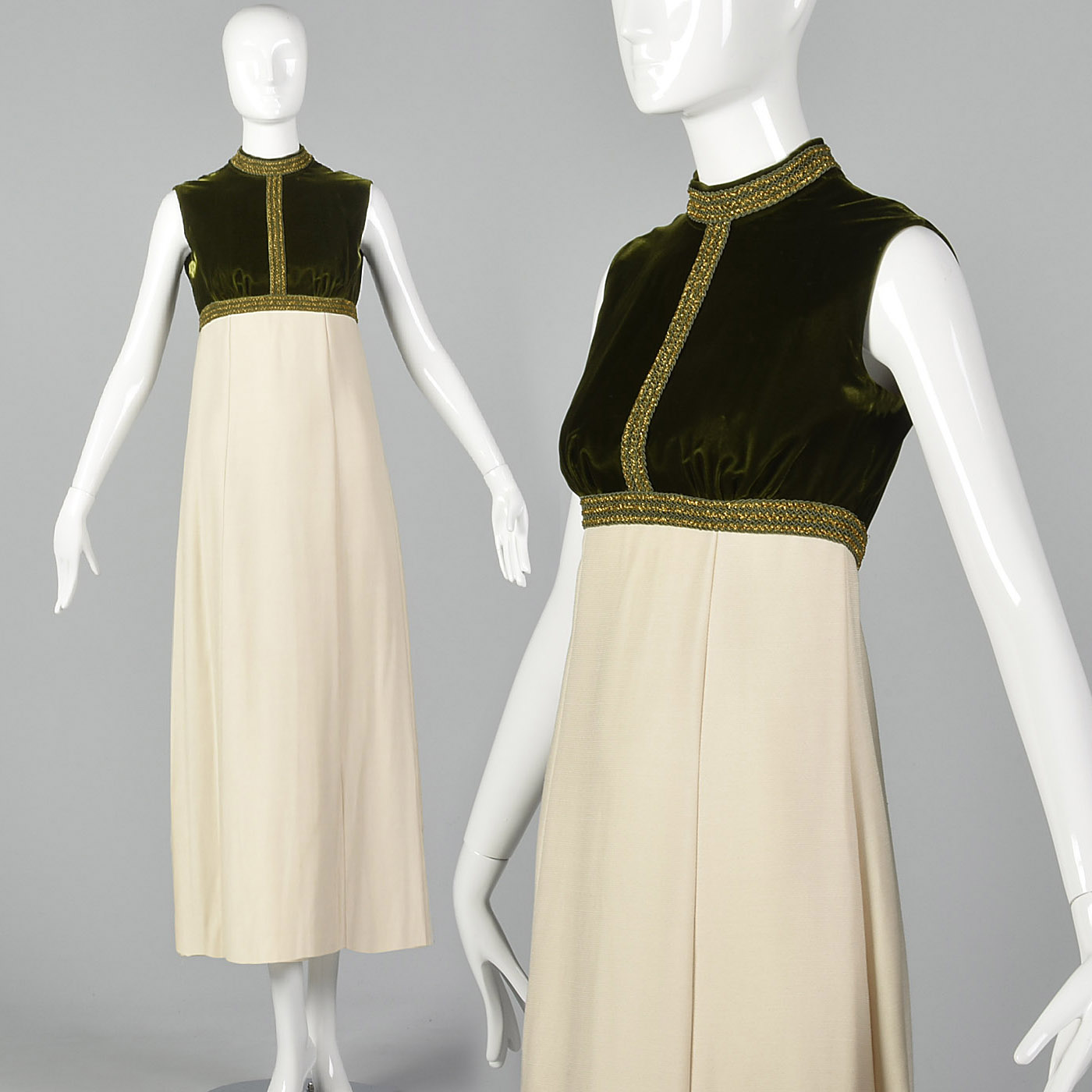 0443b2c9460 Details about XXS 1960s Green and Ivory Formal Dress Empire Waist VTG Formal  Prom Dress