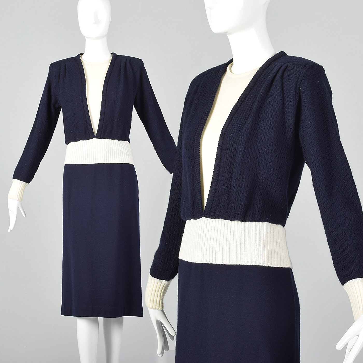 20b85e40de4 Details about M 1980s Navy Wool Knit Sweater Dress Long Sleeves Fall Autumn  Casual Outfit 80s