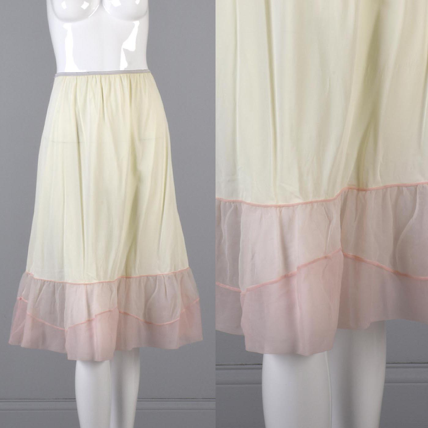 2c2f4b8819 Details about Medium 1950s Pink Cream Half Slip Vintage Skirt 50s Petticoat  Sheer Loungewear