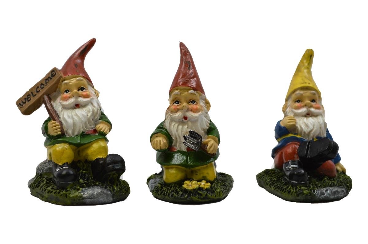 "Gnome Garden: 3"" My Fairy Gardens Mini Figure Set Of 3"