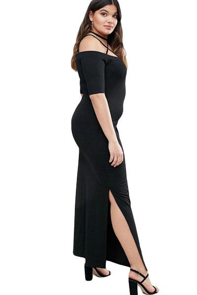 Plus Size Sundress 3x 5x Black Strappy Off Shoulder Maxi Dress Sexy