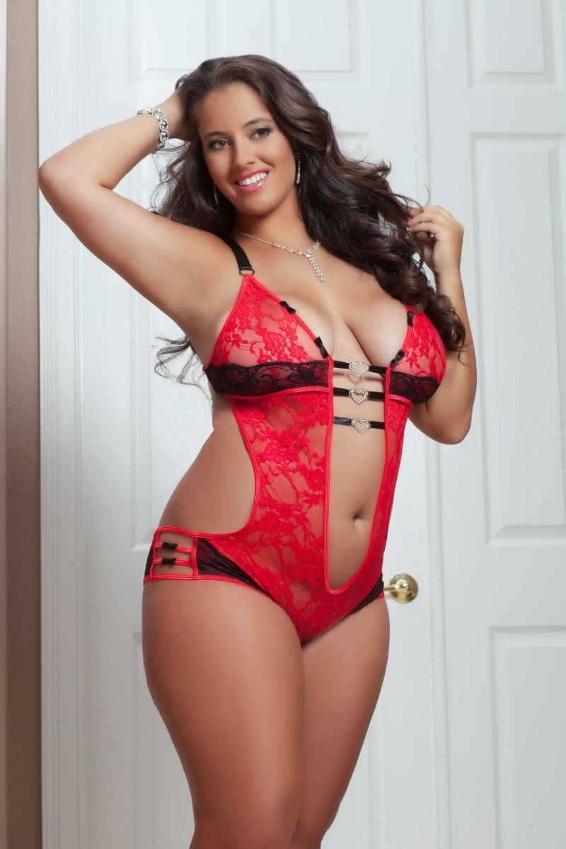 Plus Size Lingerie 1X 2X 3X 4X Sexy Red Lace Caged Teddy ...