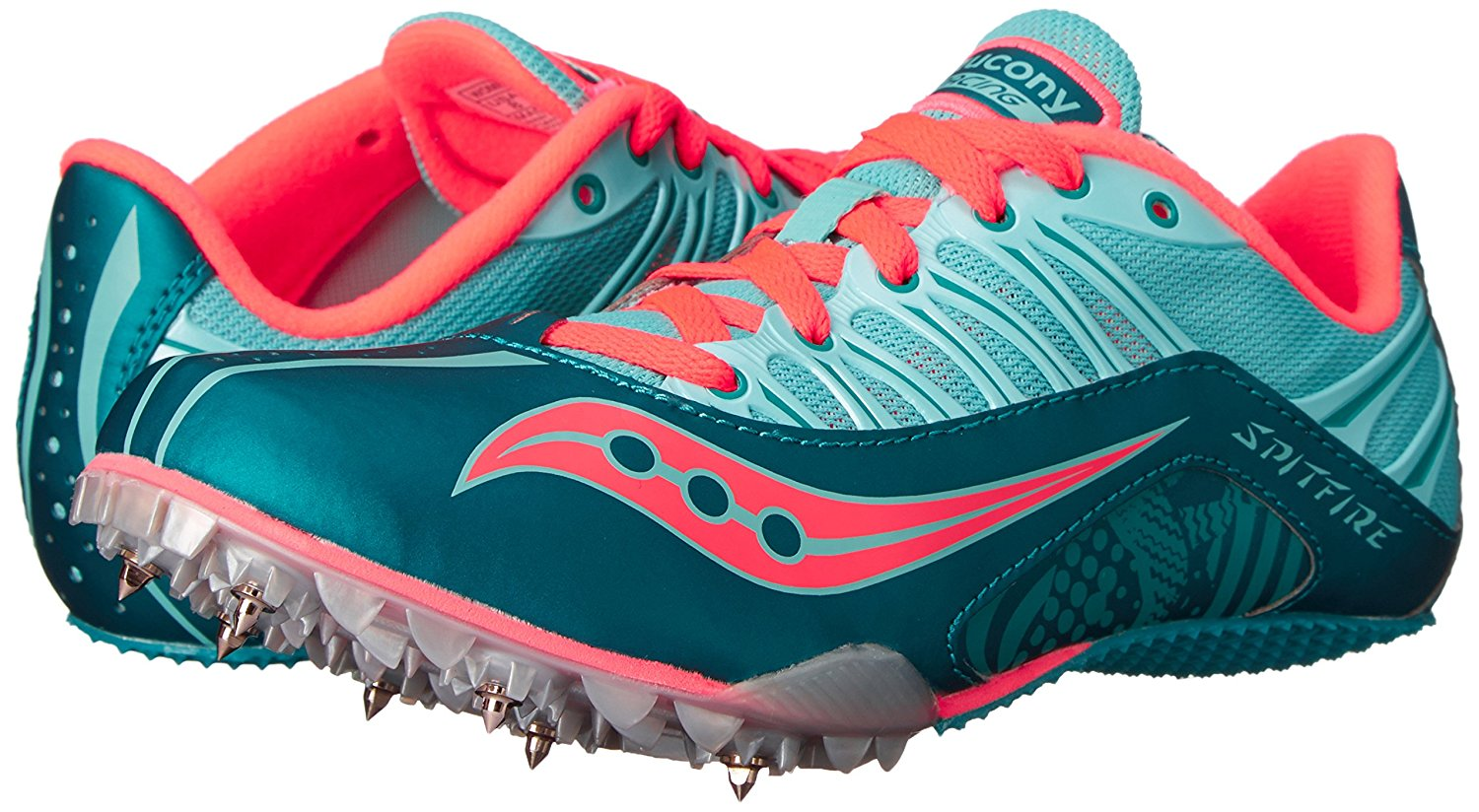 Saucony Women's Spitfire Athletic Running Track shoes Teal Coral Size 9.5M
