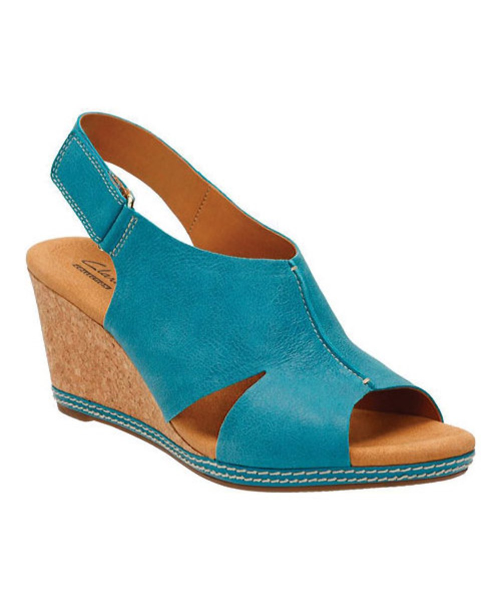 04742812a Details about Clarks Women s Helio Float Leather Peep Toe Wedge Sandals Blue  Size 6.0W