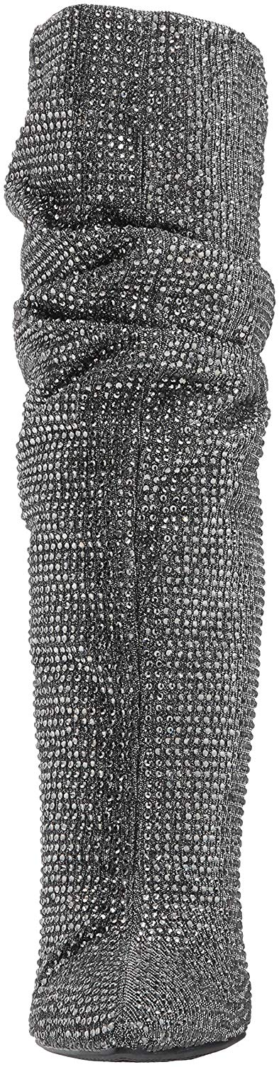 Jessica-Simpson-Women-039-s-Layzer-Embellished-Slouch-Stiletto-Boots-Pewter-Multi thumbnail 15