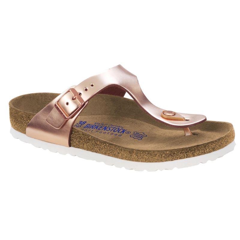 76e492d774b Details about Birkenstock Women s Gizeh Soft Footbed Leather Sandals Metallic  Copper