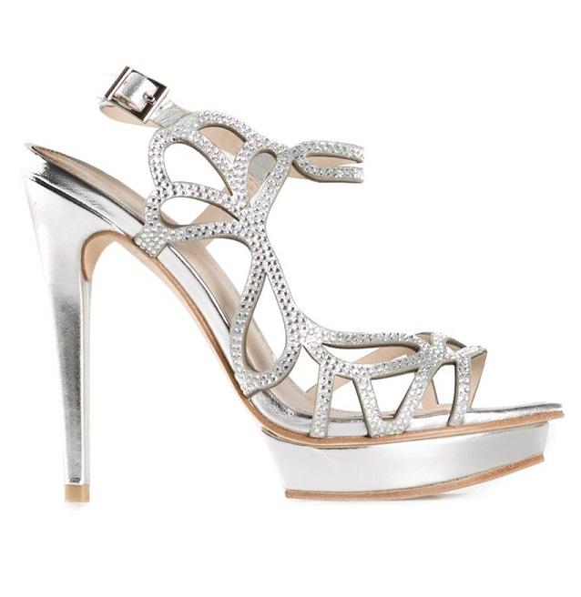 Fey Platform Women's Embellished Silver High Heel Moda Sandals Pelle vn08wmN
