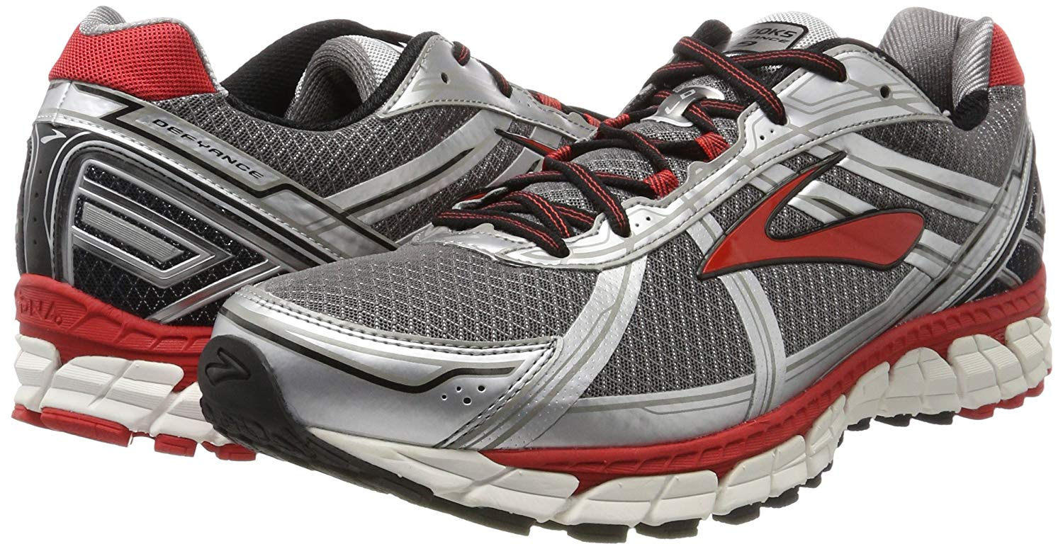 f0029f6e1c5f9 Brooks Men s Defyance 9 Running Shoes Charcoal Silver High Risk Red ...