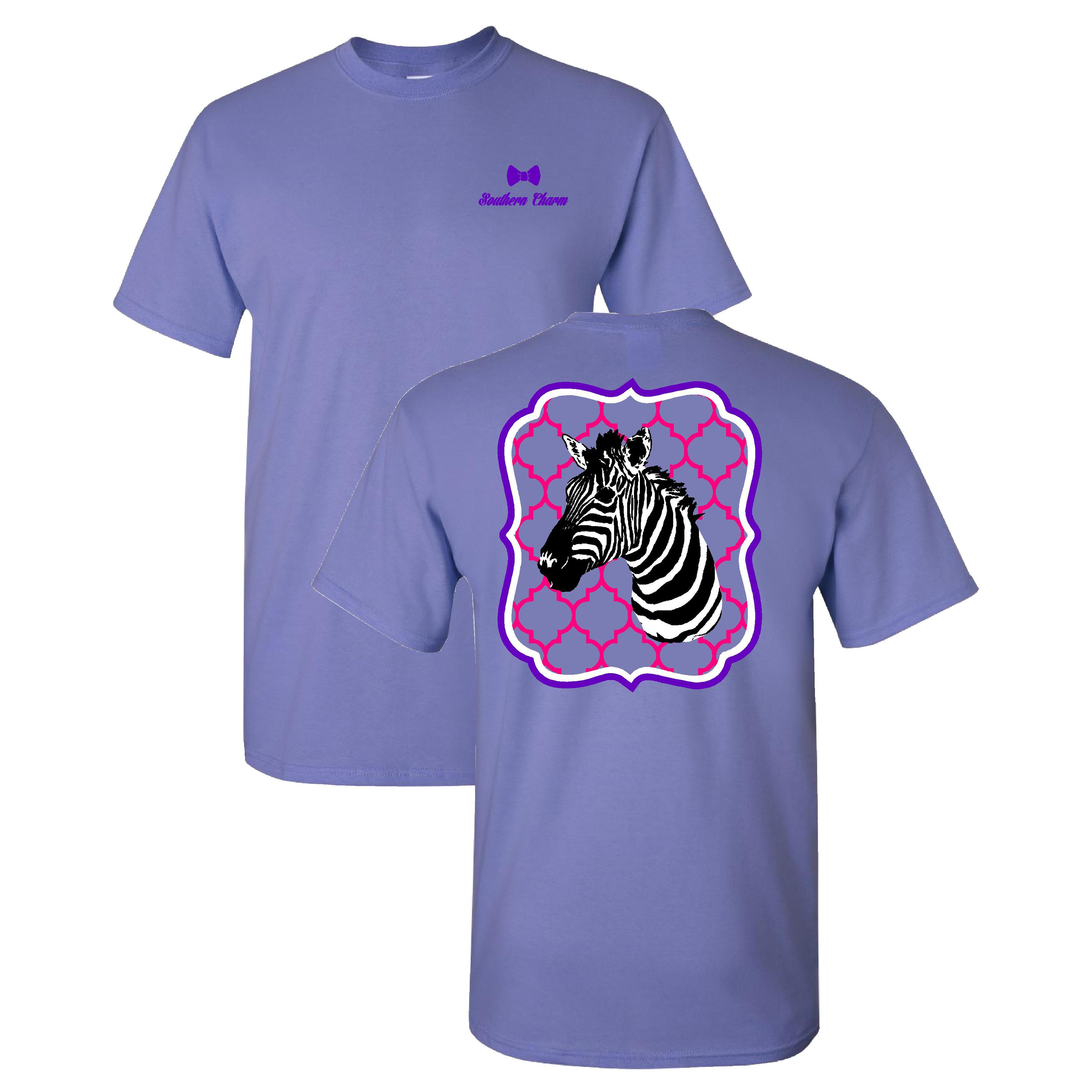 Southern-Charm-Zebra-on-a-Violet-Short-Sleeve-T-Shirt thumbnail 9