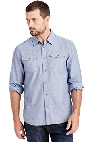 True-Religion-Men-039-s-Long-Sleeve-Utility-Chambray-Button-Front-Shirt-in-Indigo thumbnail 6