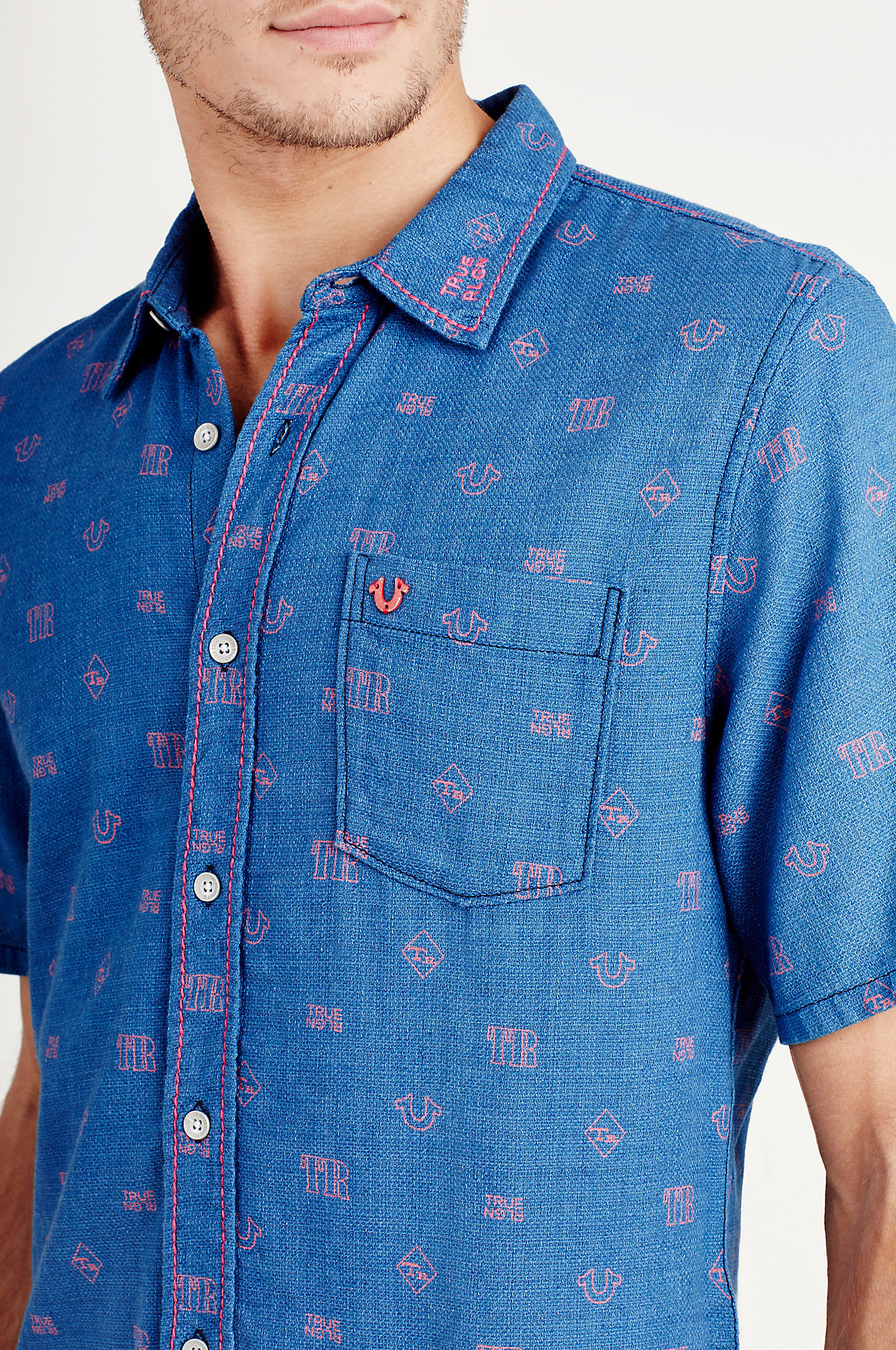 True-Religion-Men-039-s-Short-Sleeve-Button-Up-Woven-Shirt thumbnail 5