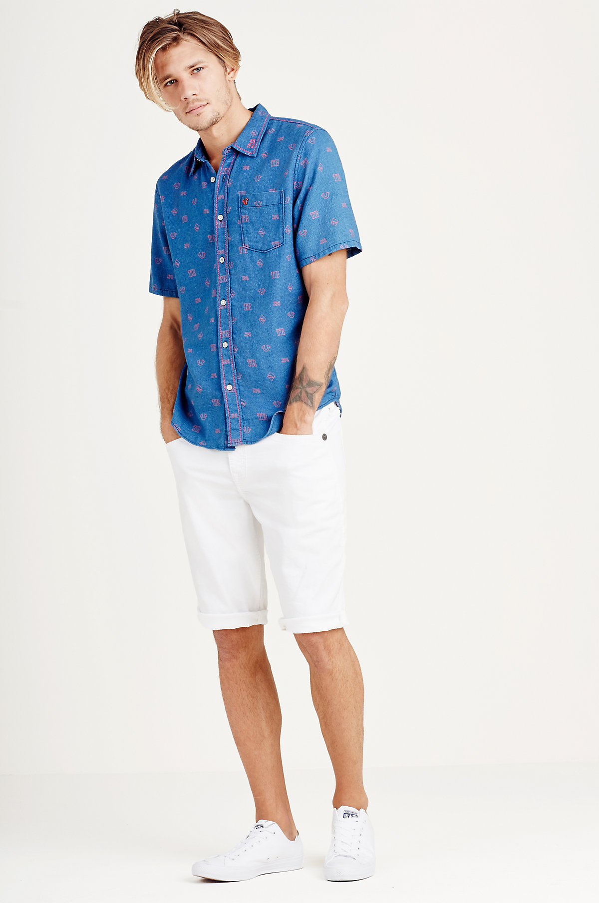 True-Religion-Men-039-s-Short-Sleeve-Button-Up-Woven-Shirt thumbnail 4