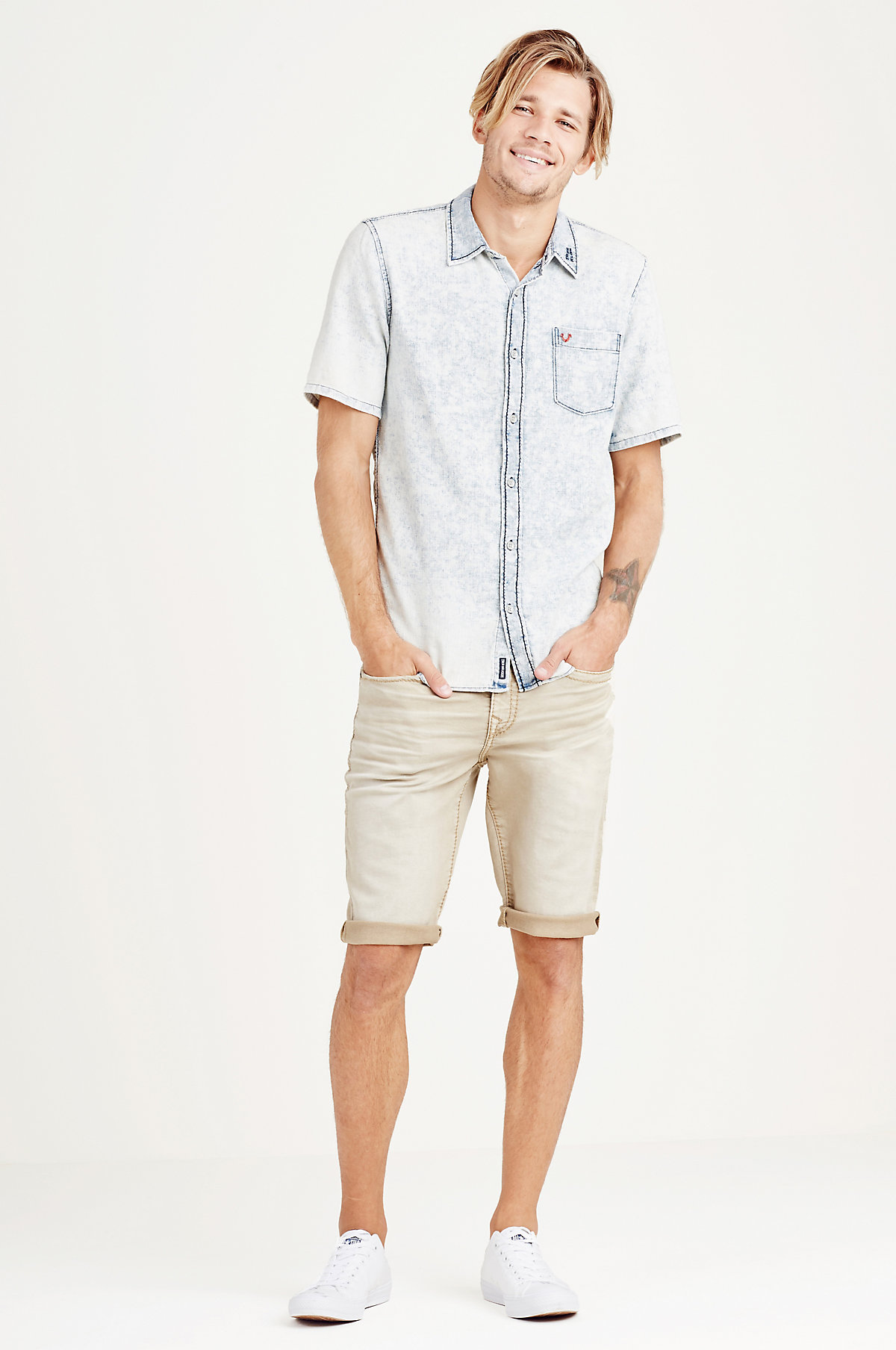 True-Religion-Men-039-s-Short-Sleeve-Button-Up-Woven-Shirt thumbnail 9
