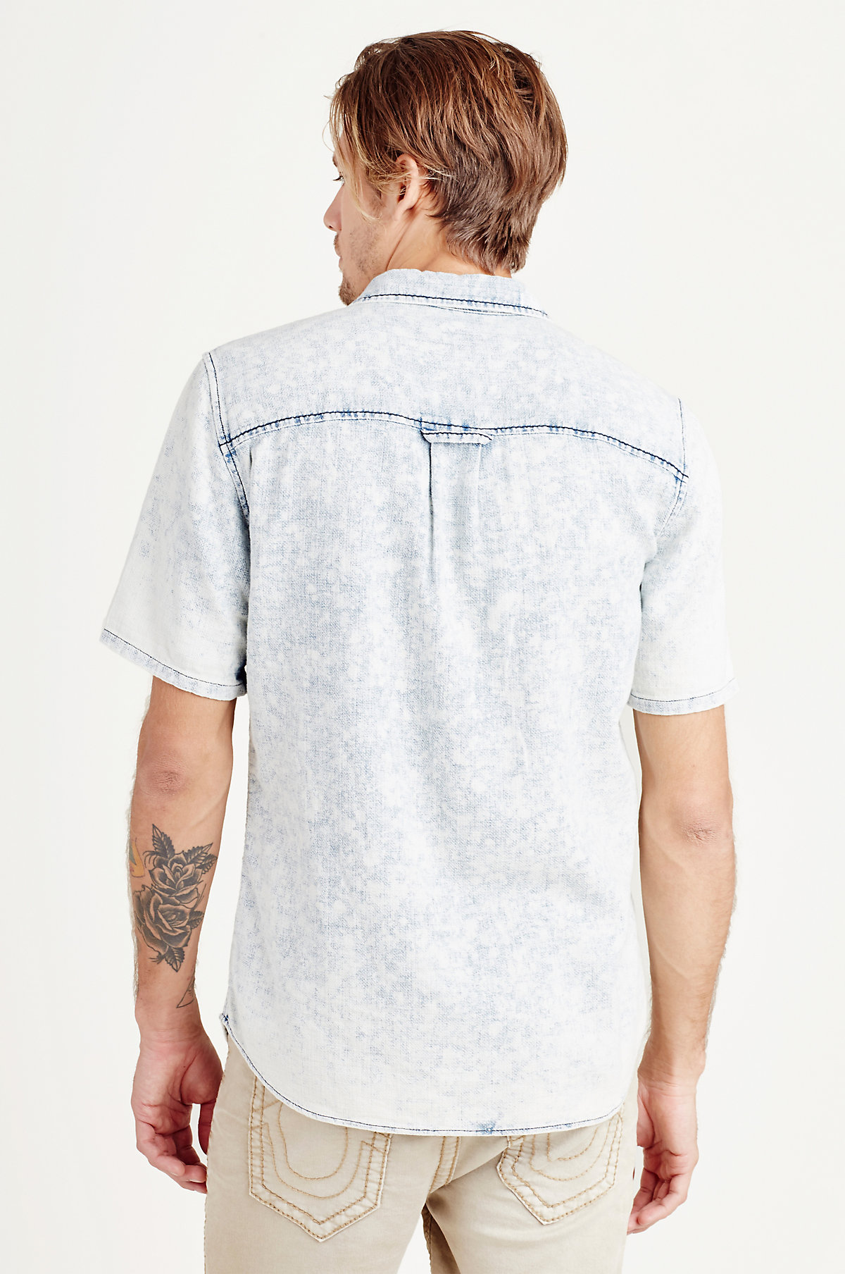 True-Religion-Men-039-s-Short-Sleeve-Button-Up-Woven-Shirt thumbnail 8