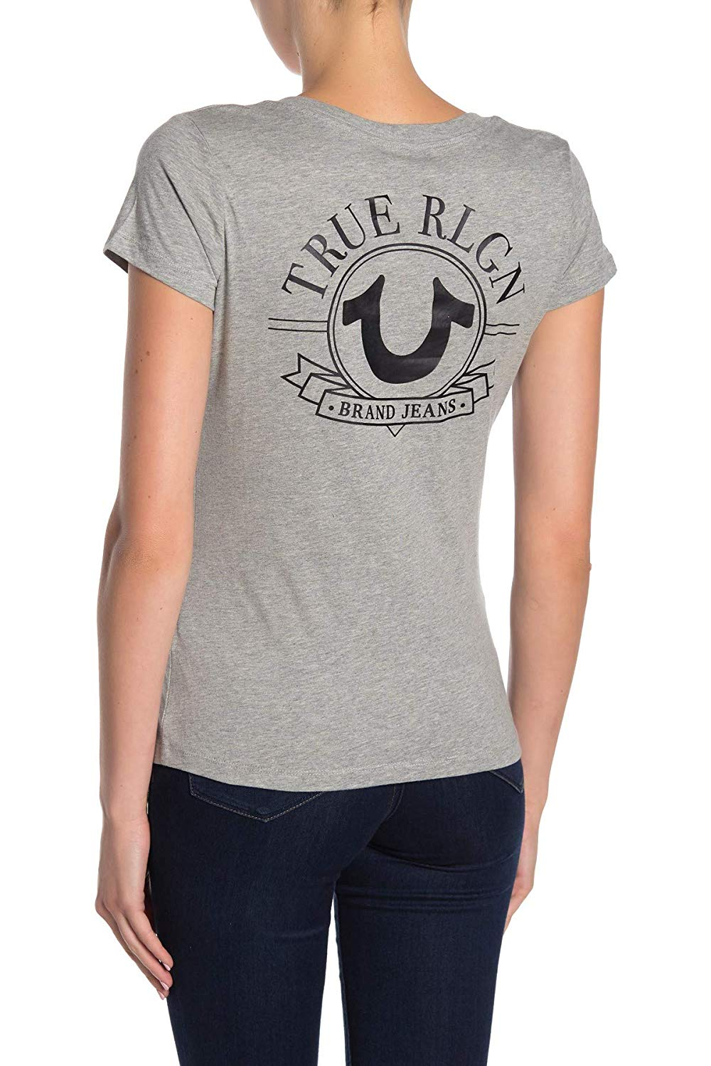 True-Religion-Women-039-s-Big-Horseshoe-V-Neck-Tee-T-Shirt thumbnail 9