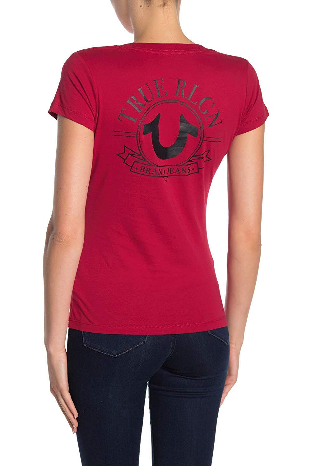 True-Religion-Women-039-s-Big-Horseshoe-V-Neck-Tee-T-Shirt thumbnail 11