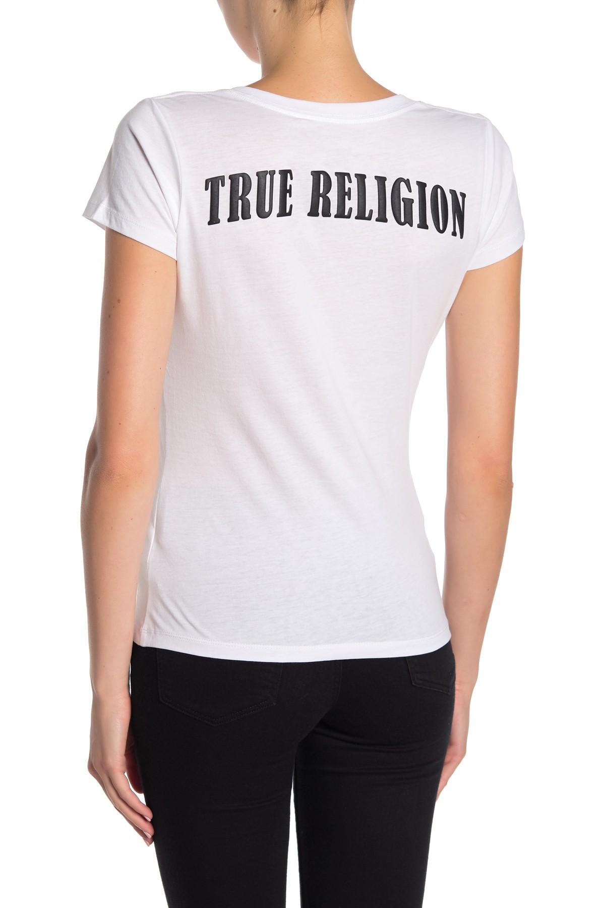 True-Religion-Women-039-s-Double-Puff-V-Neck-Tee-T-Shirt thumbnail 9
