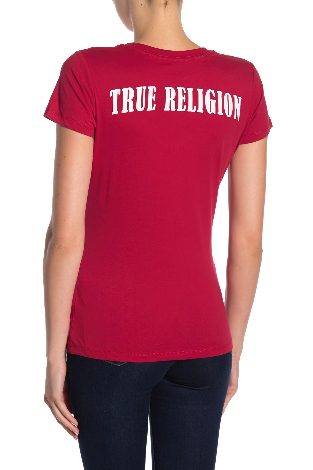 True-Religion-Women-039-s-Double-Puff-V-Neck-Tee-T-Shirt thumbnail 5