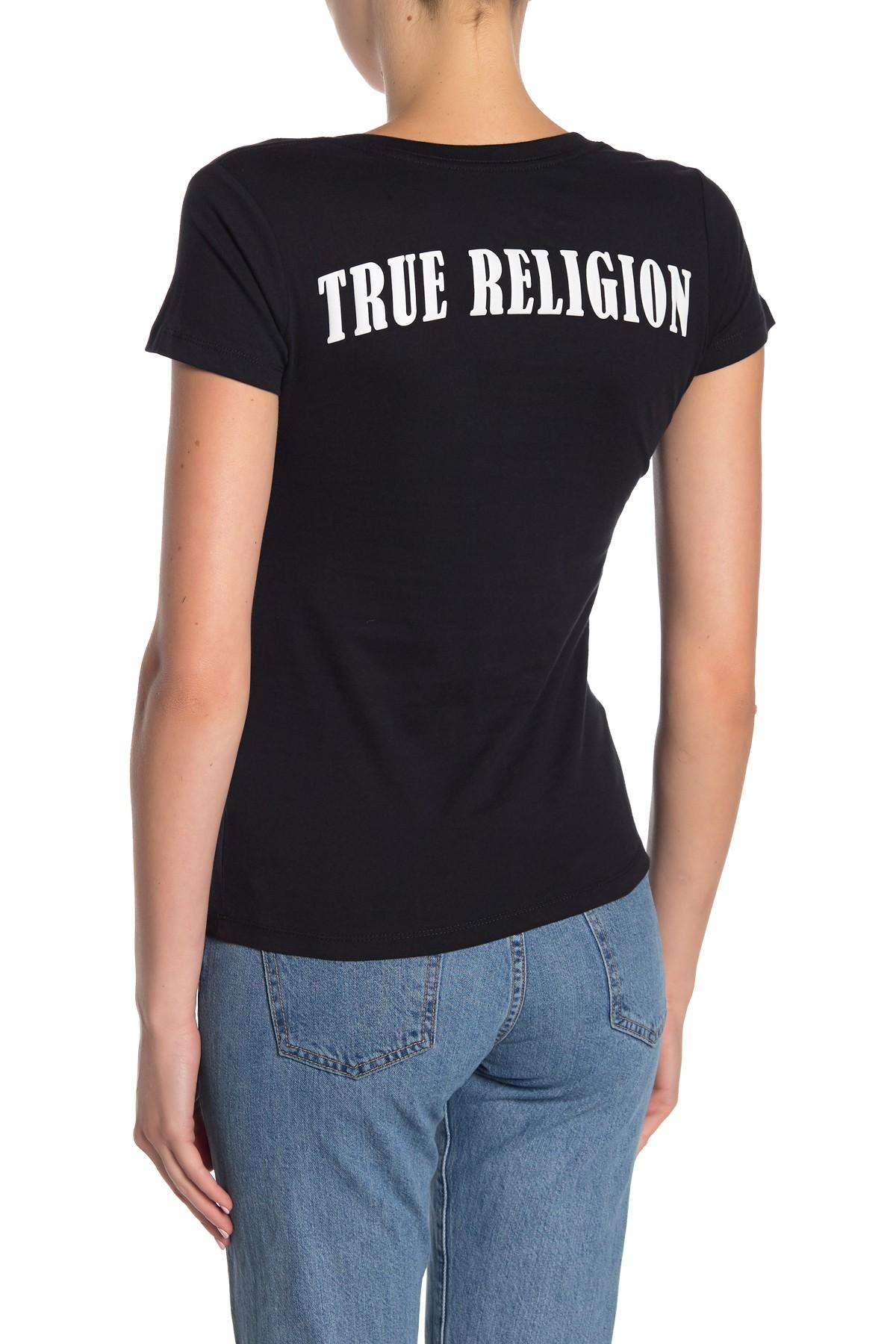 True-Religion-Women-039-s-Double-Puff-V-Neck-Tee-T-Shirt thumbnail 3