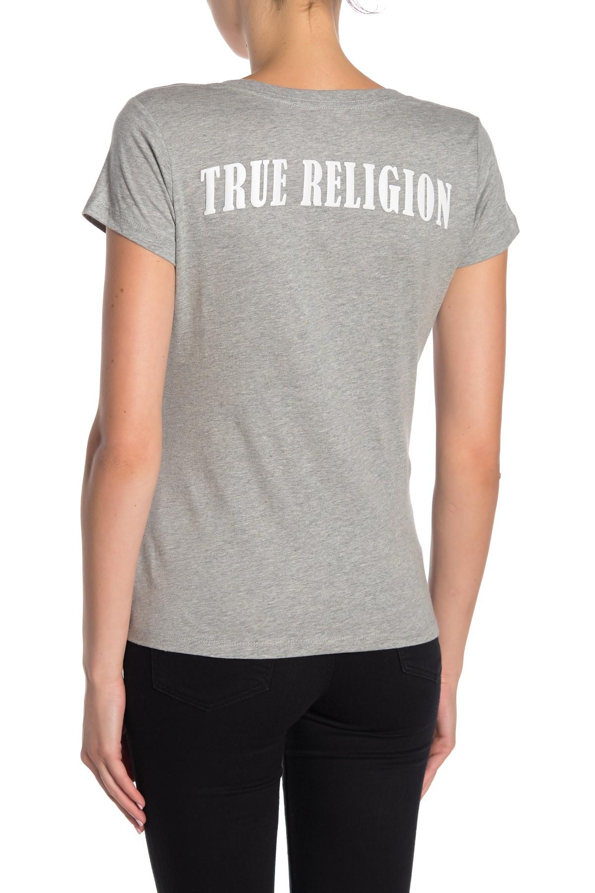 True-Religion-Women-039-s-Double-Puff-V-Neck-Tee-T-Shirt thumbnail 7
