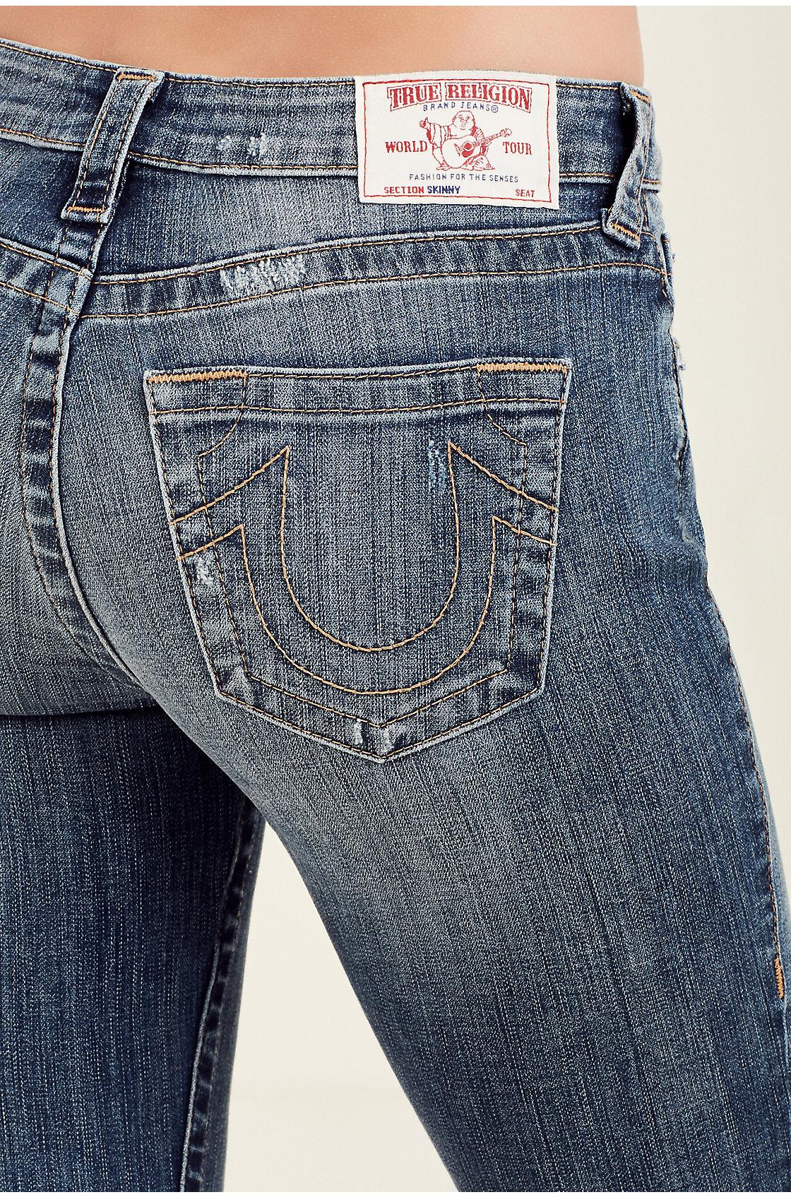 eb30ca934a4 True Religion Women s Curvy Skinny Fossil Silk Jeans w  Rips in ...