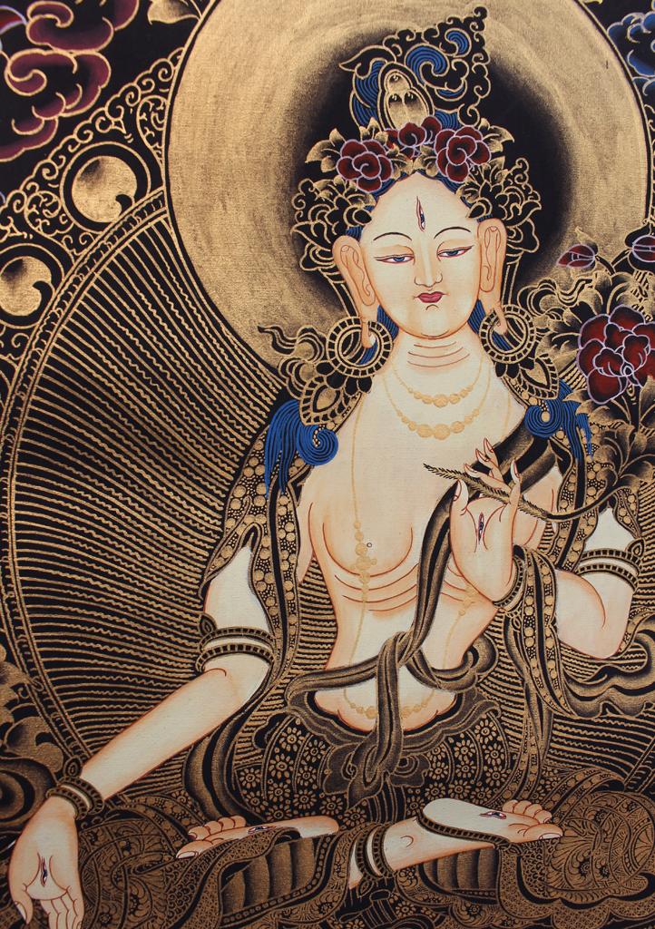 White-Tara-Thangka-Painting-with-Blue-Border-69x54-CM thumbnail 6
