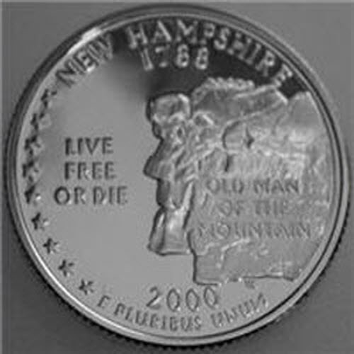 2000 S State Quarter New Hampshire Gem Deep Cameo Proof 90/% Silver US Coin