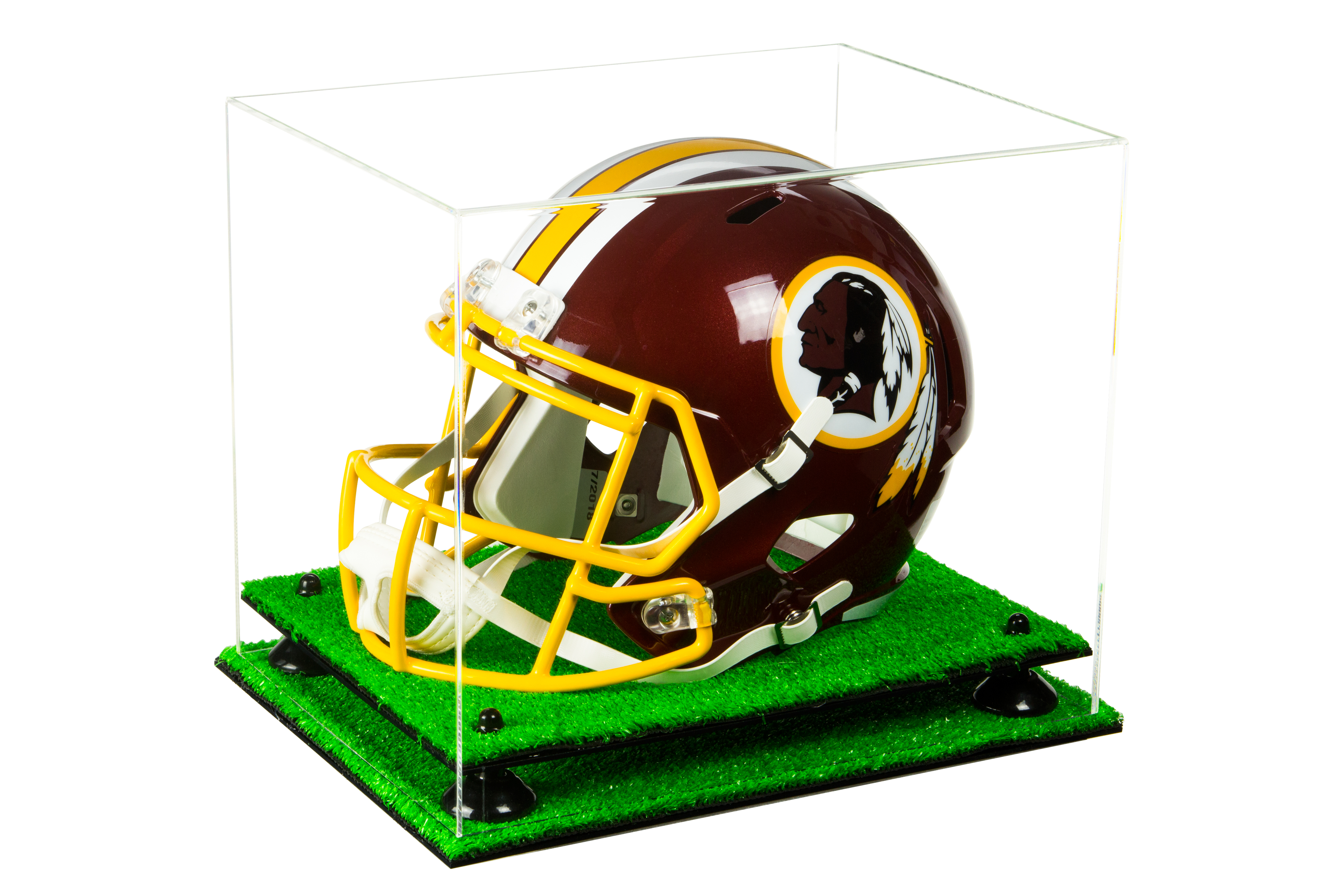 A003-BR Clear Acrylic Collectible MINI Helmet Display Case with Black Risers