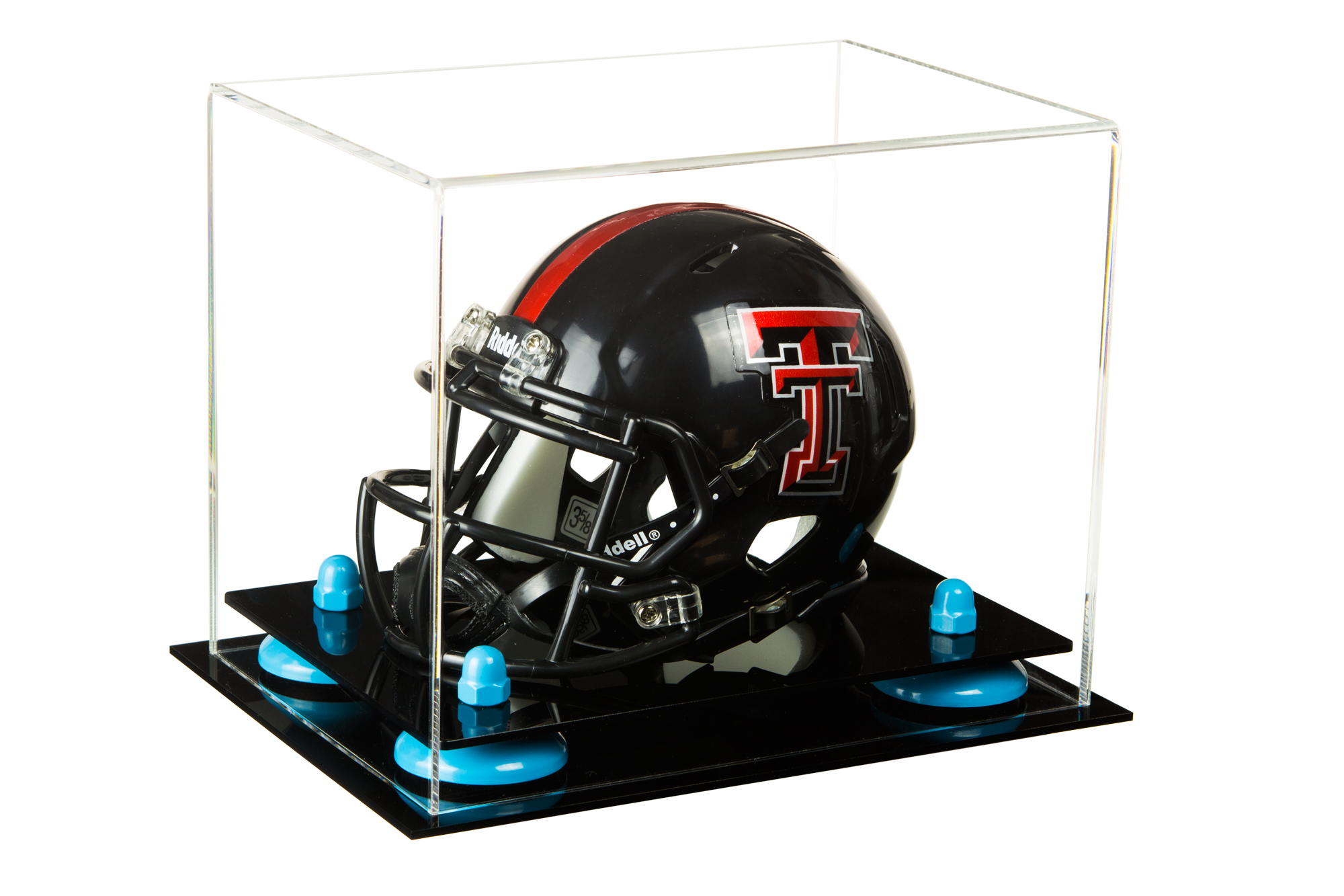 cfcc3b8ca1d Details about Clear Acrylic Mini Football Helmet Display Case with Blue  Risers (A003-BLR)