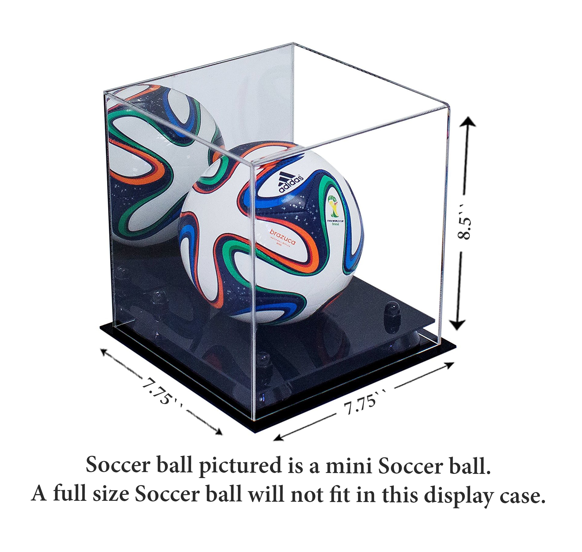A015-GR Mirror Acrylic MINI Miniature Soccer Ball Display Case-Gold Risers