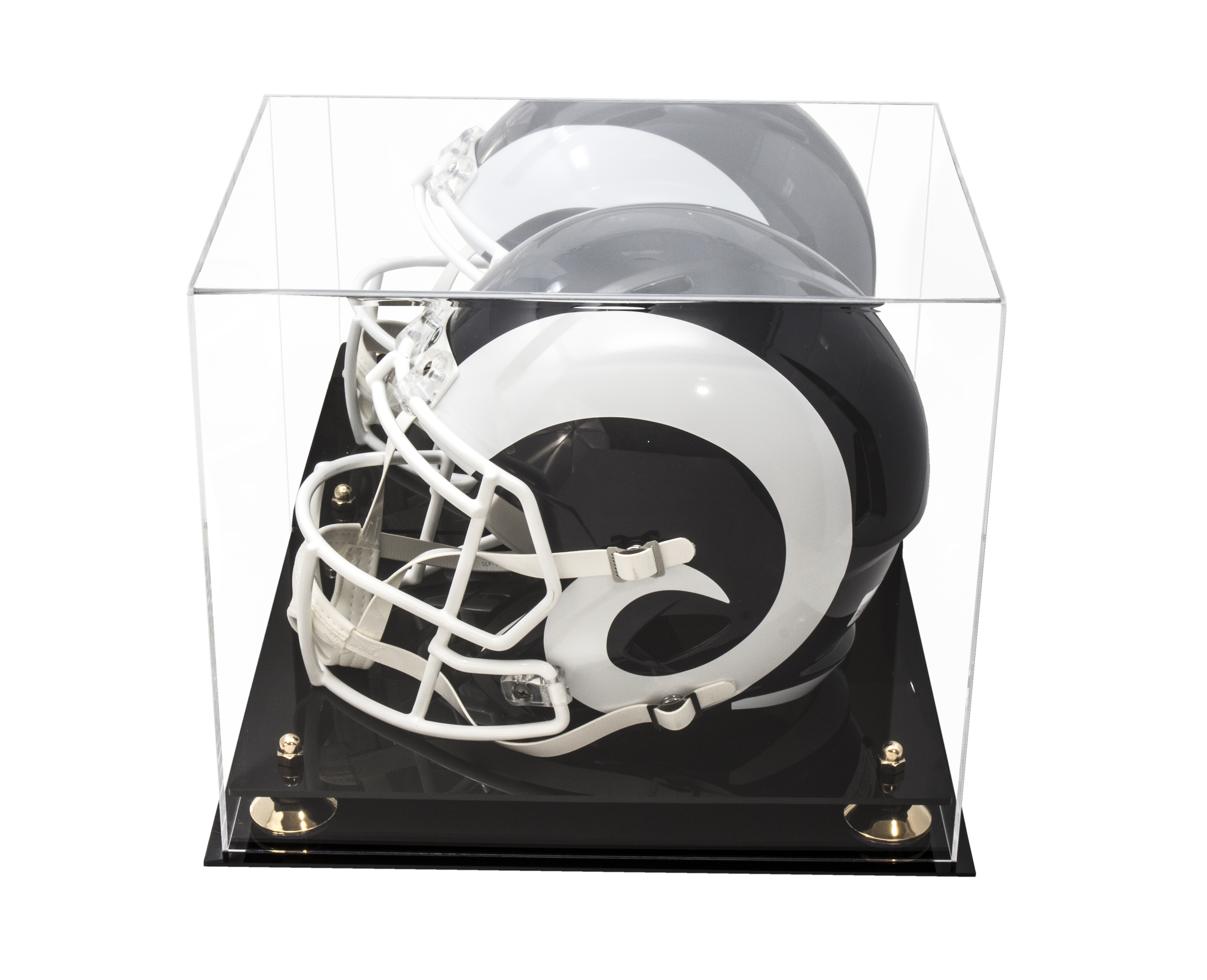 c117b1226f6 Details about Full Size Football Helmet Acrylic Display Case-Mirror   Gold  Risers (A002-GR)