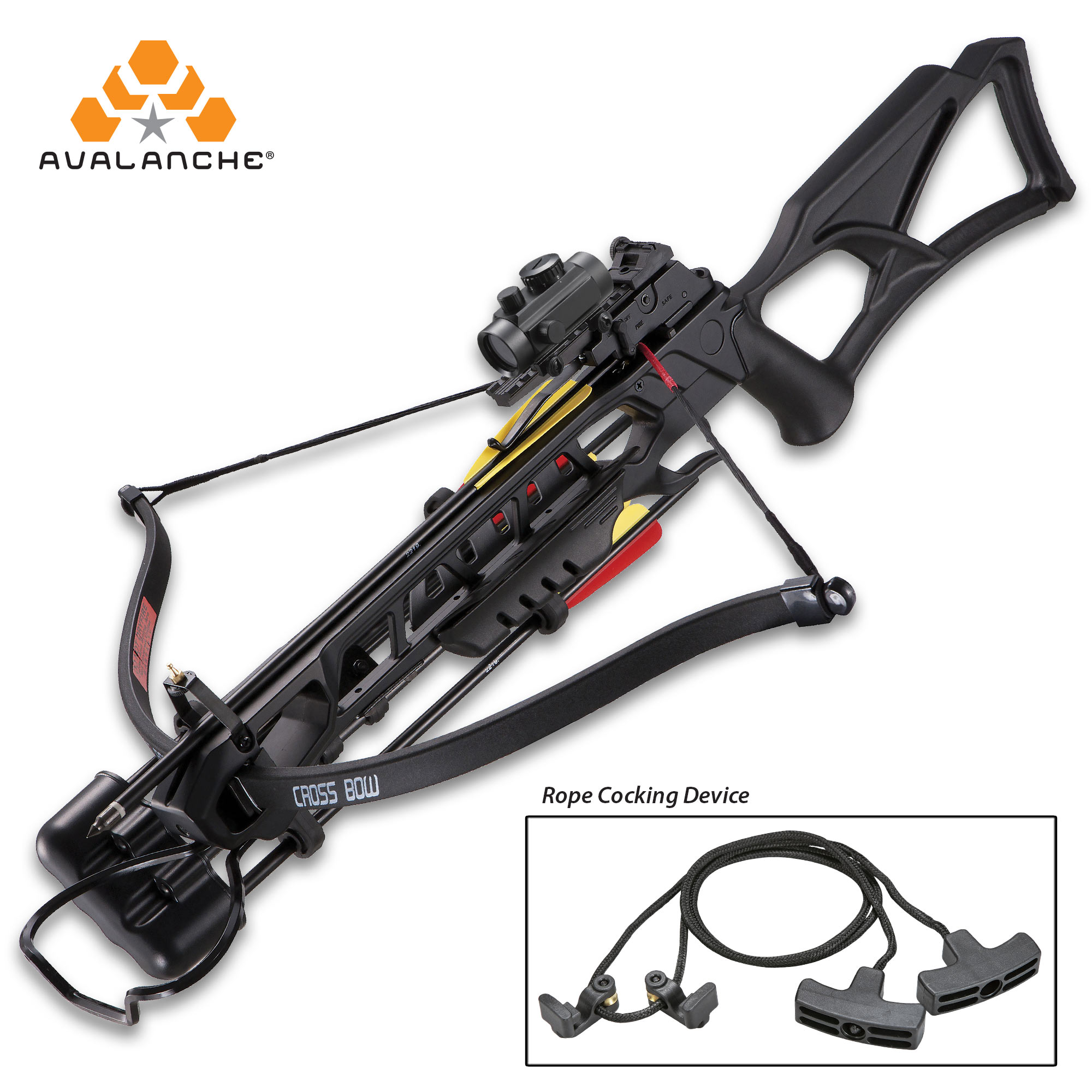 Stringer 175 lb Black Hunting Crossbow Archery Bow 4 Arrows Wax 150 80
