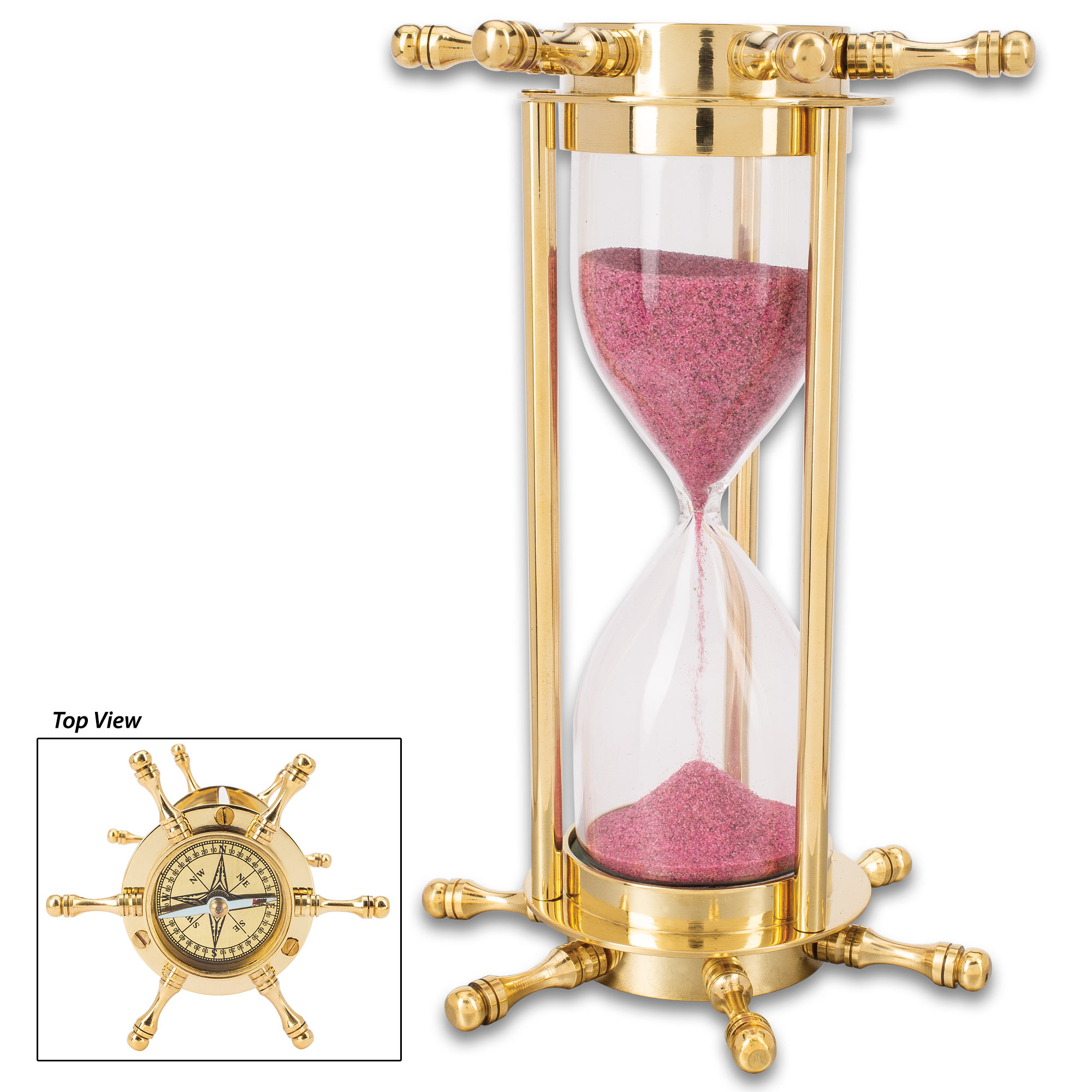 Solid Sand Hourglass w//Compass Collectible Sand Timer Office Vintage Table Decor