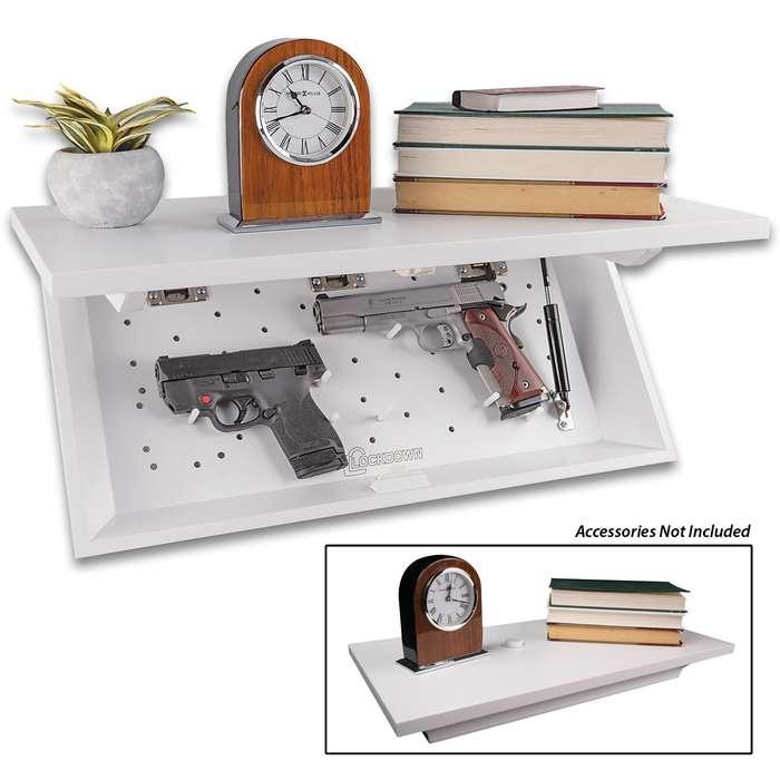 Hidden Compartment Floating Wall Shelf Concealed Furniture Gun Safe Cabinet Wht Ebay