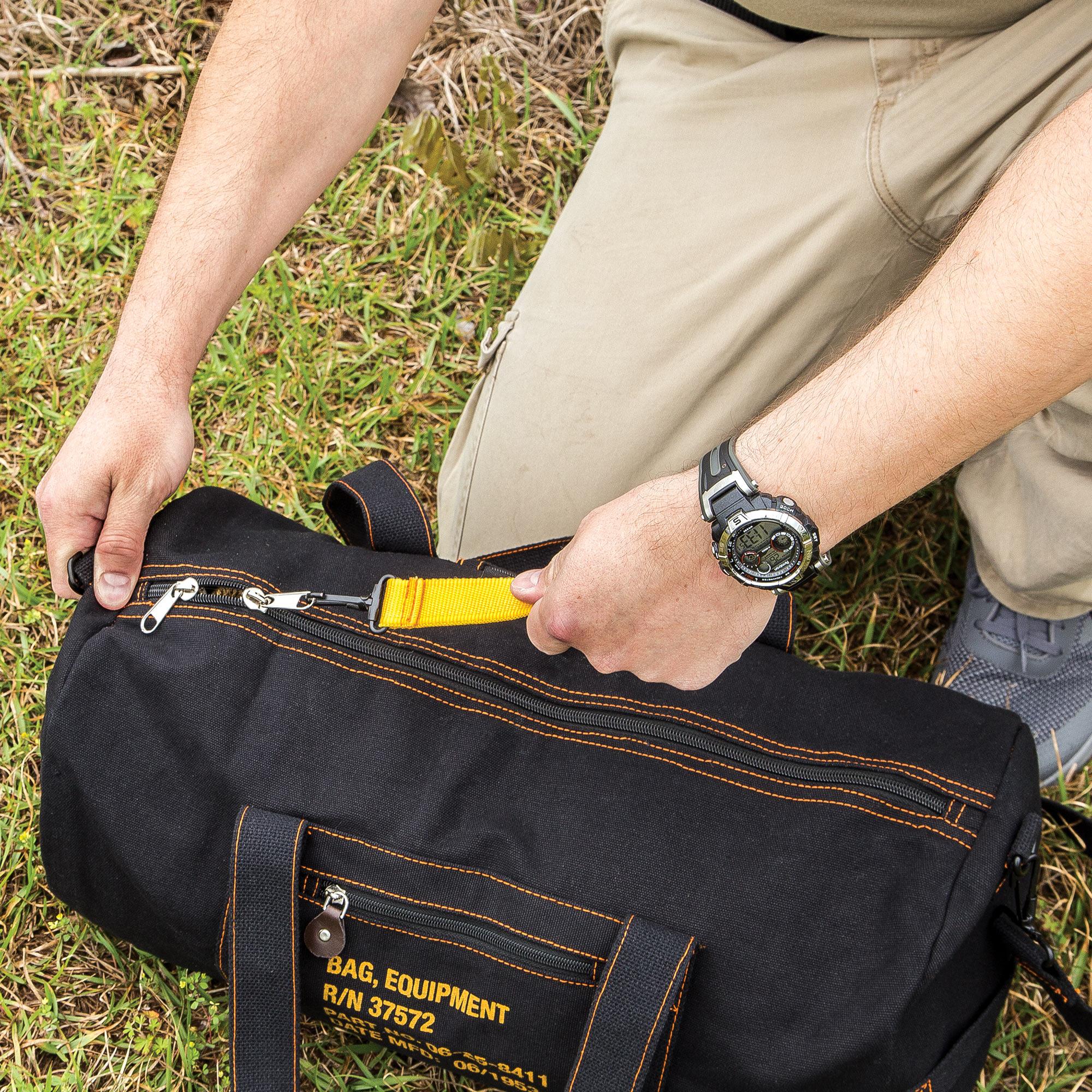 Black Cotton Canvas Travel Equipment Carry Duffle Bag Flight Adjustable 2cebc4c0295be